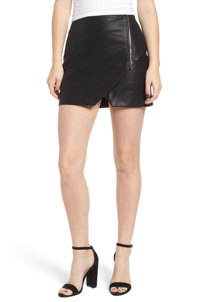 Faux Leather Zip Miniskirt