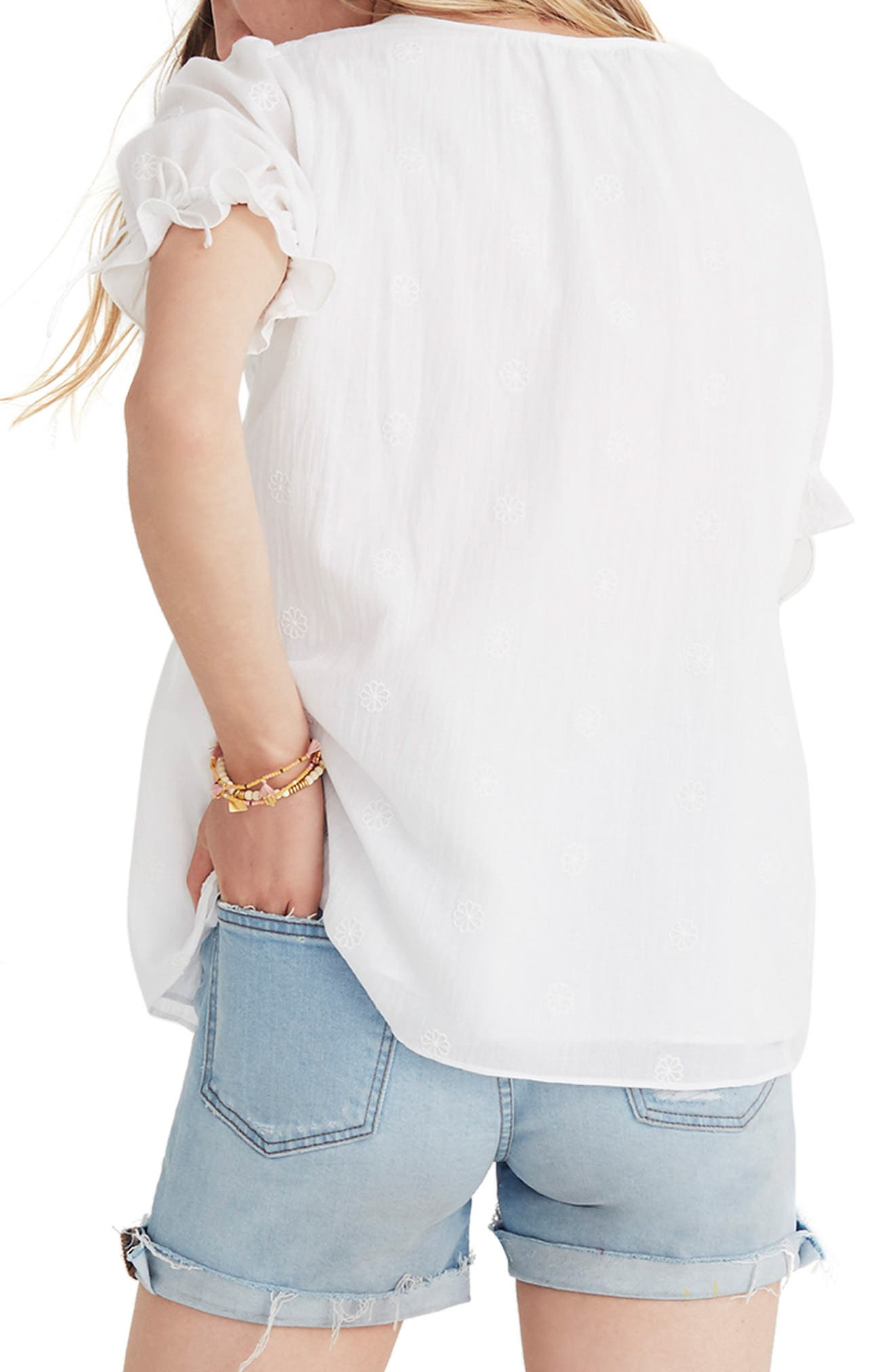 Embroidered Pintuck Top,                             Alternate thumbnail 2, color,                             Eyelet White