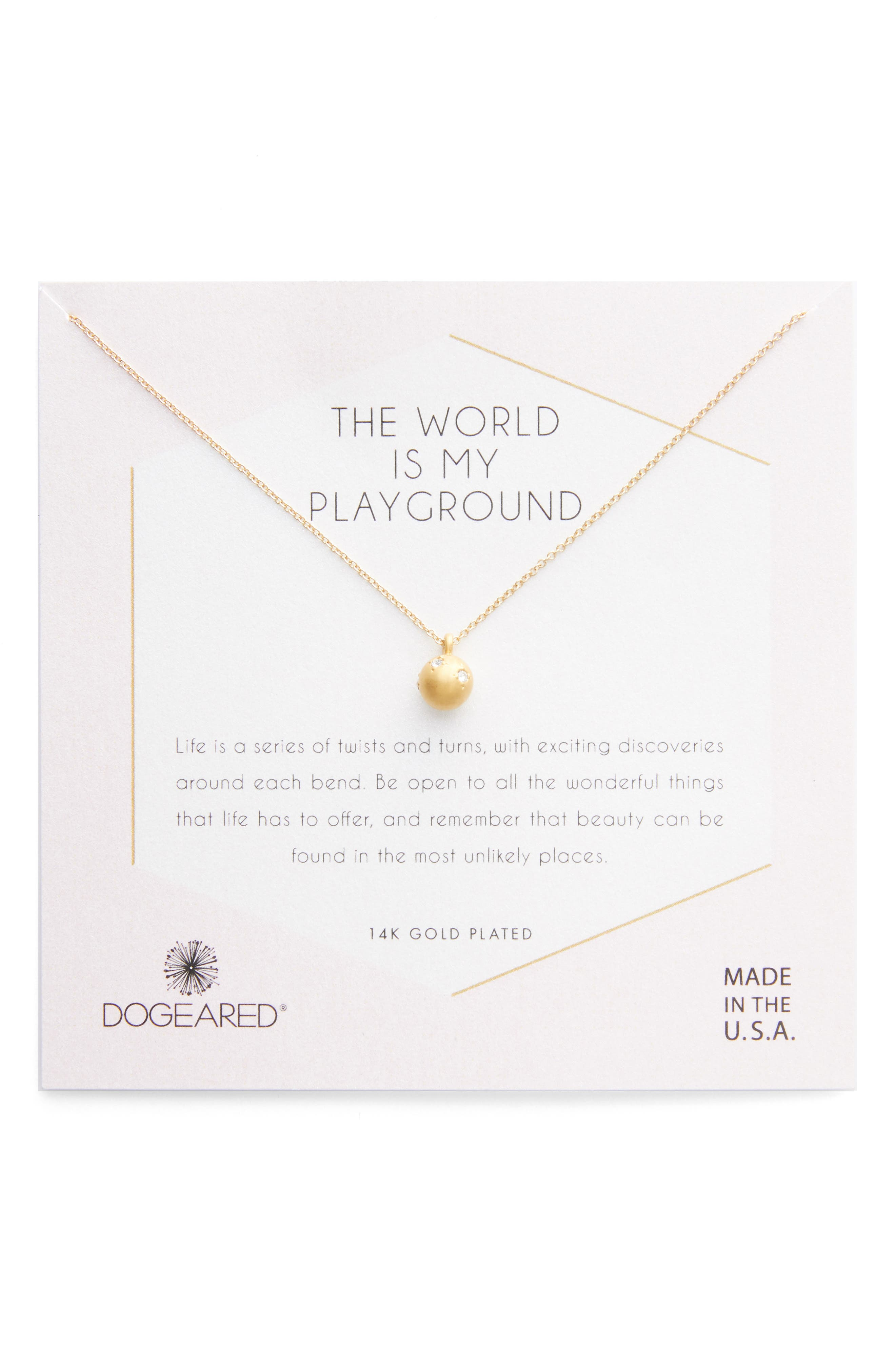World Is My Playground Pendant Necklace,                         Main,                         color, Gold