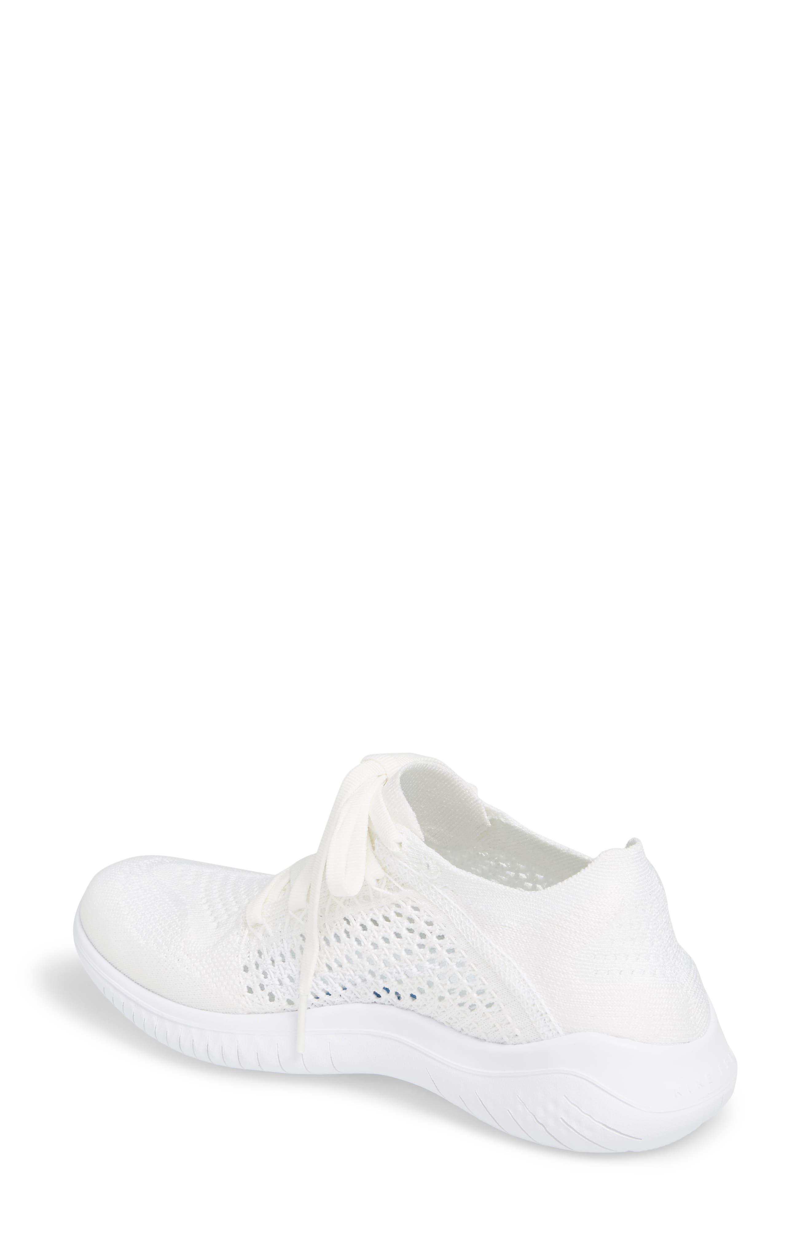 Free RN Flyknit 2018 Running Shoe,                             Alternate thumbnail 2, color,                             White/ White