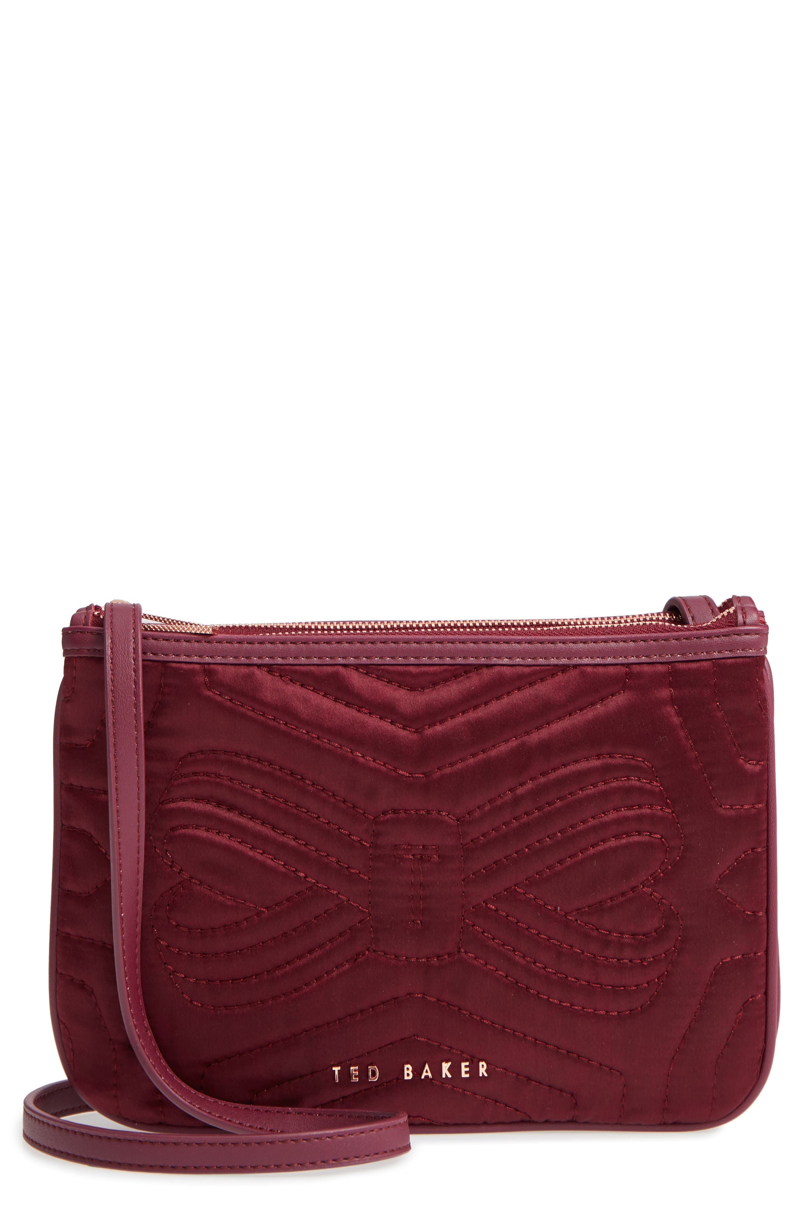 Quilted Bow Crossbody Bag,                         Main,                         color, Maroon