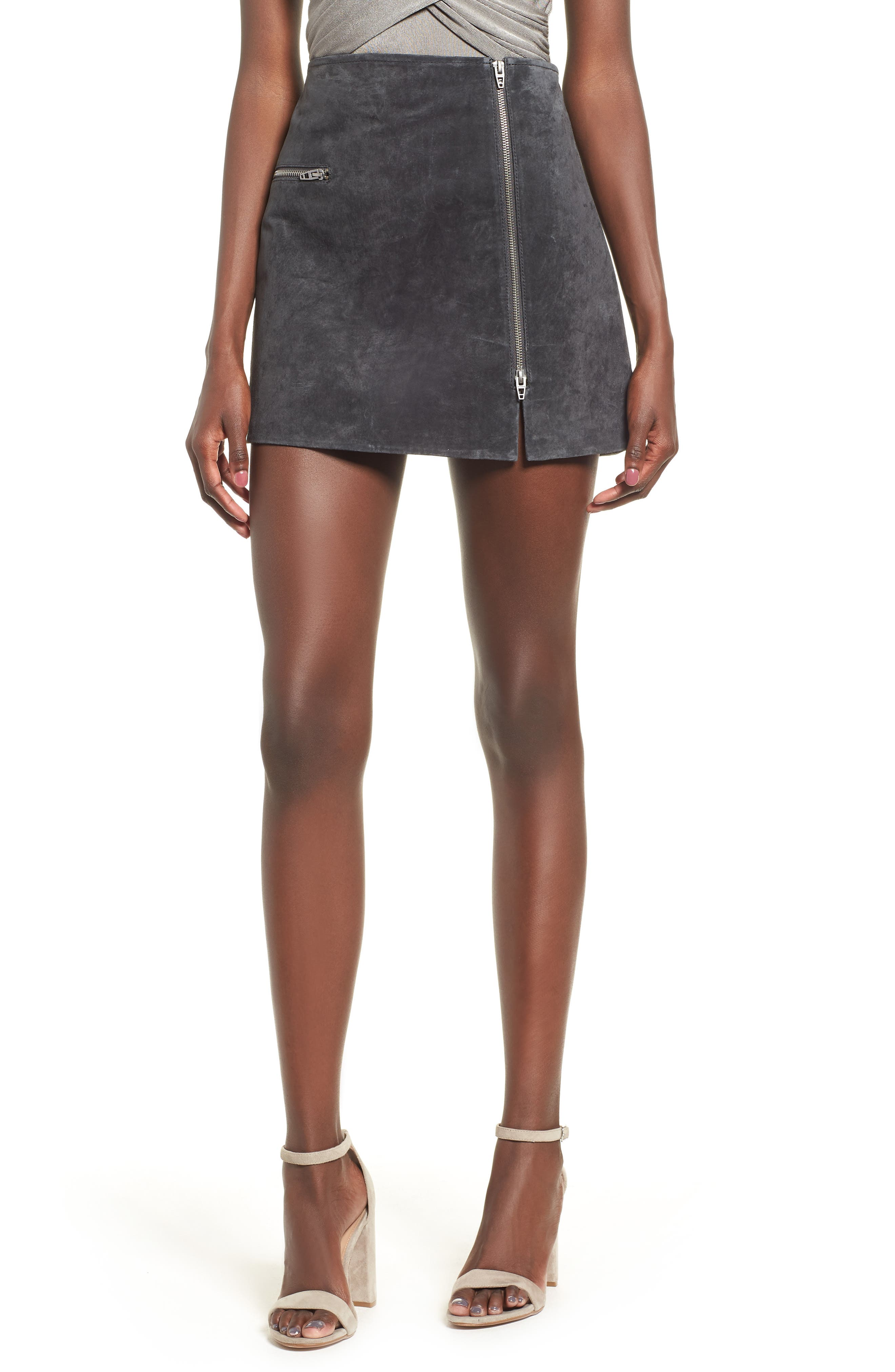 Suede Miniskirt,                         Main,                         color, Dark And Stormy