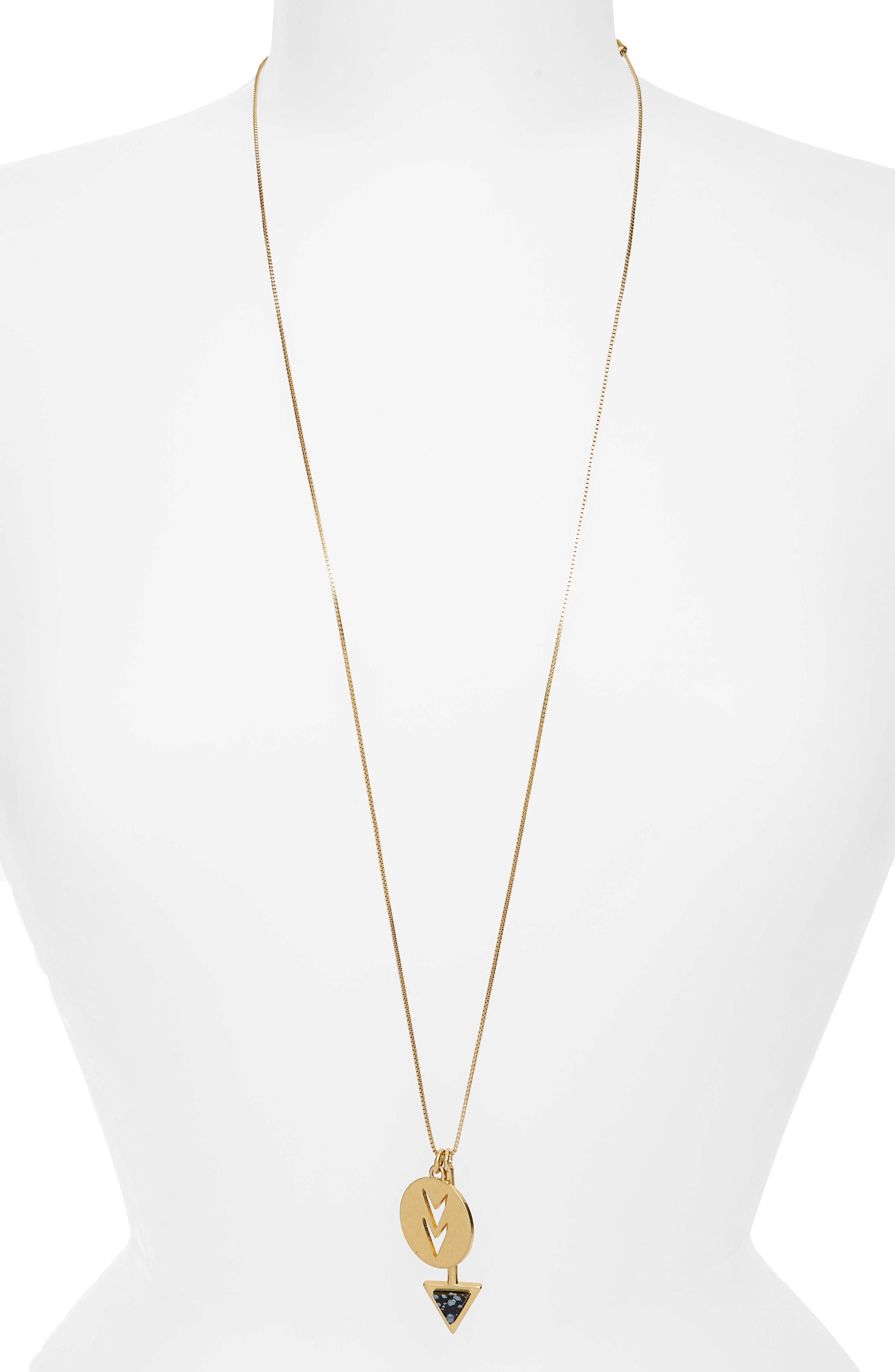 Arrowshift Pendant Necklace,                             Alternate thumbnail 2, color,                             Vintage Gold