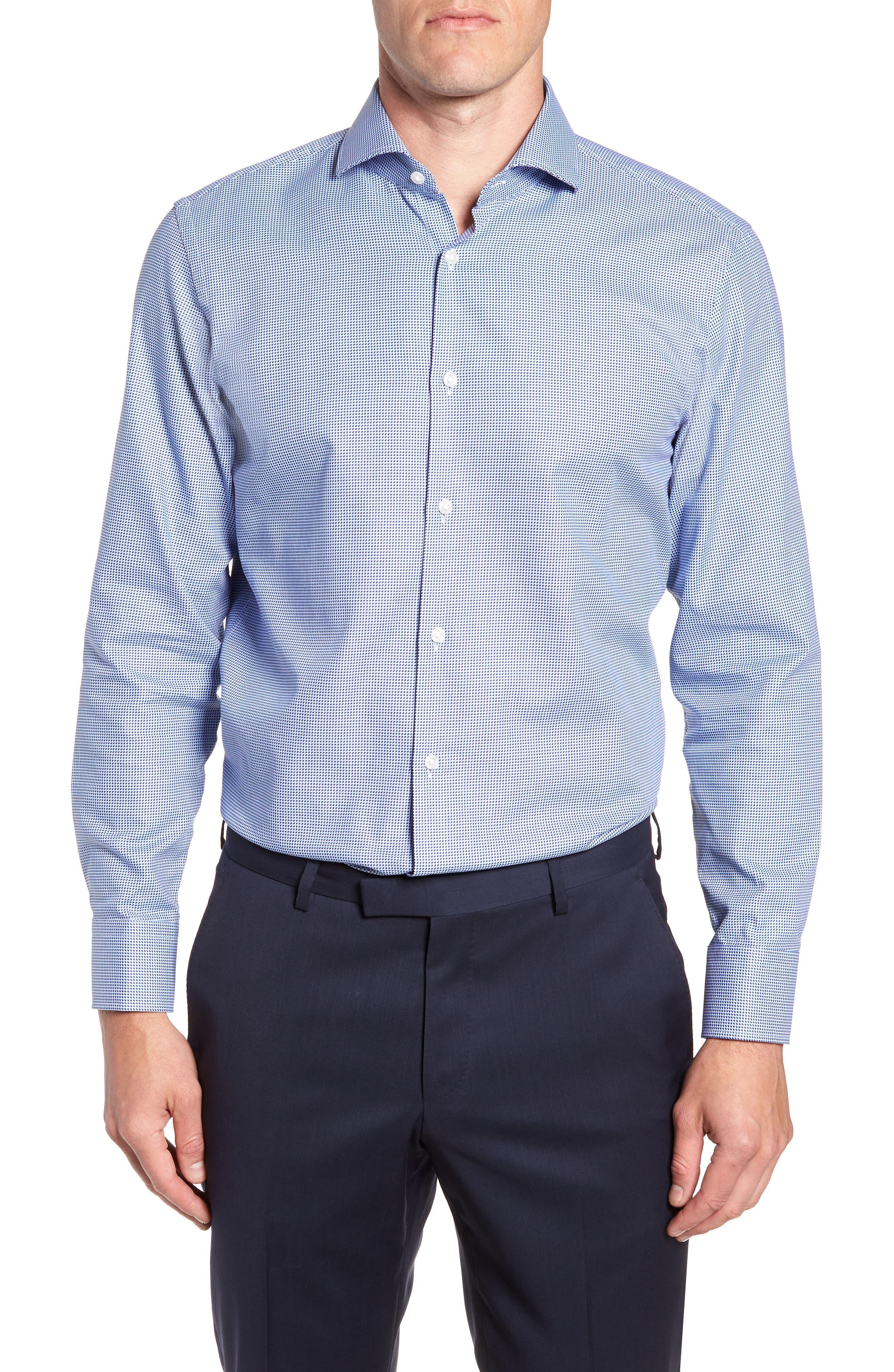 Sharp Fit Mark Micro Grid Dress Shirt,                             Main thumbnail 1, color,                             Navy
