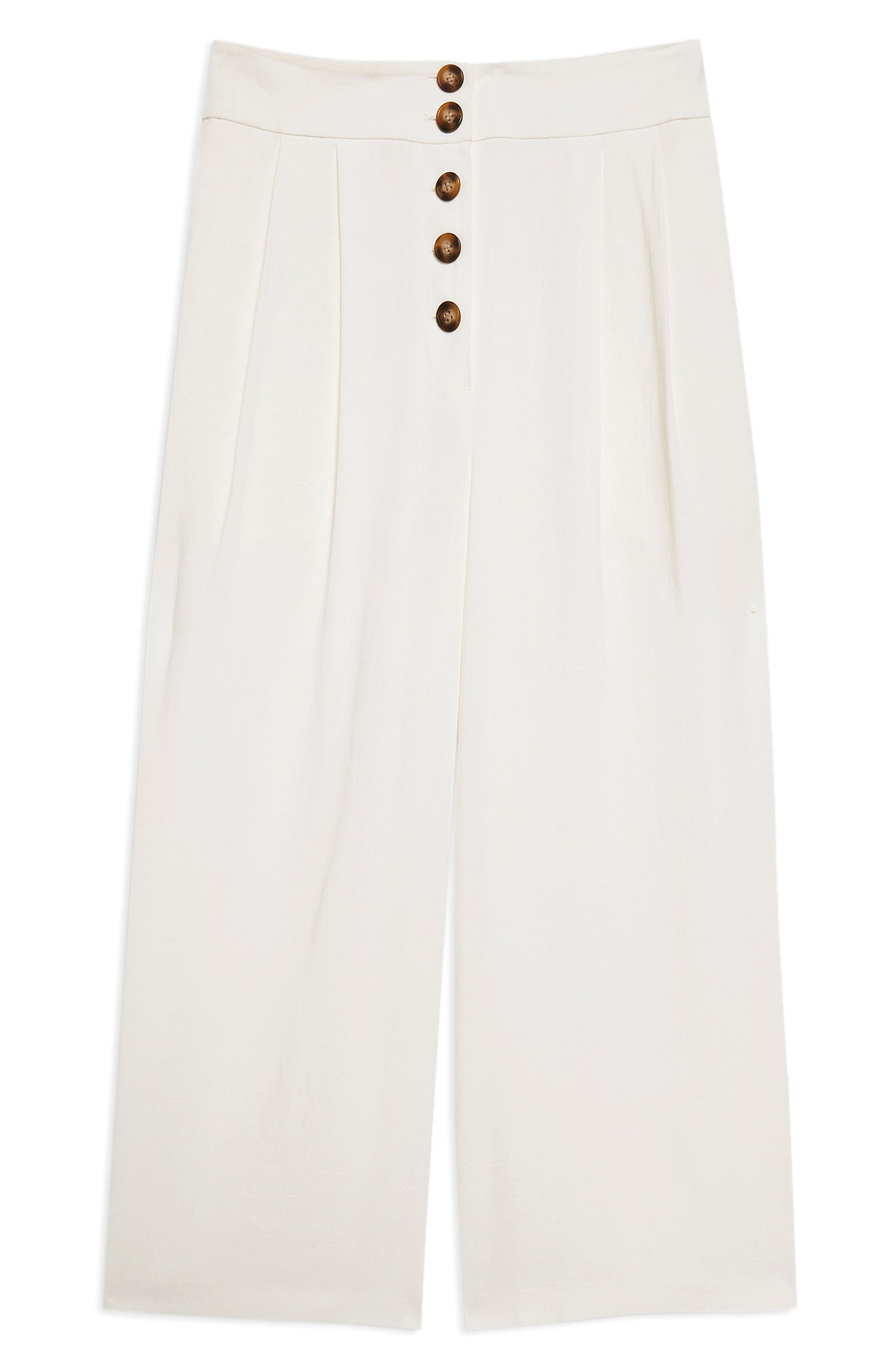 Horn Button Crop Wide Leg Trousers,                             Alternate thumbnail 6, color,                             Ivory