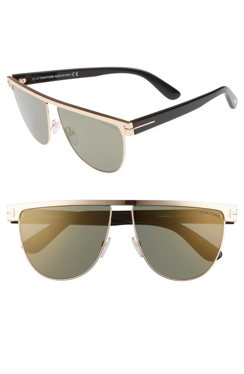 c18cda5b6c4e Tom Ford Stephanie 60Mm Mirrored Sunglasses - Rose Gold  Havana  Silver In  Gunmetal