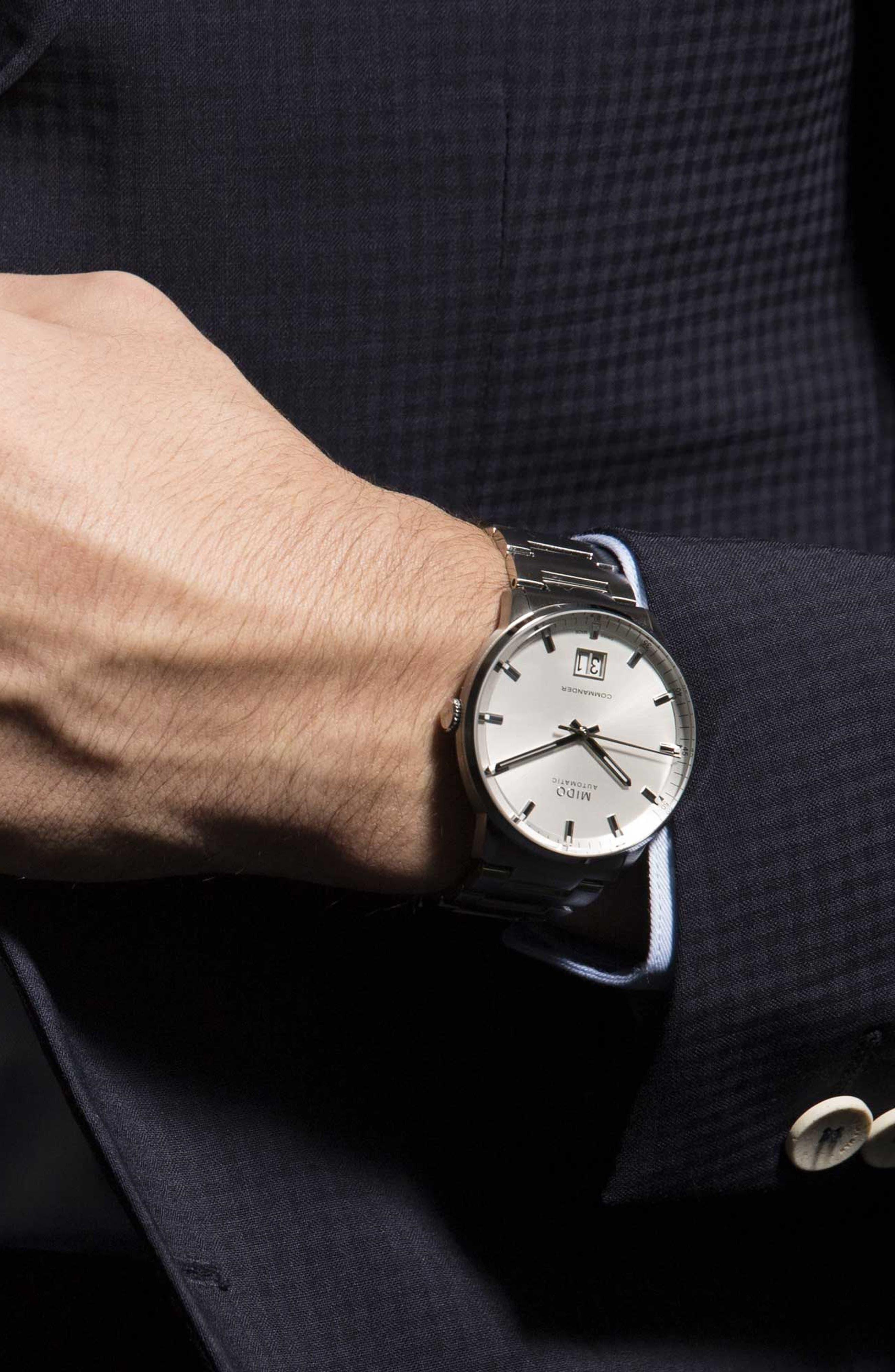 Commander II Skeleton Bracelet Watch, 42mm,                             Alternate thumbnail 2, color,                             Silver