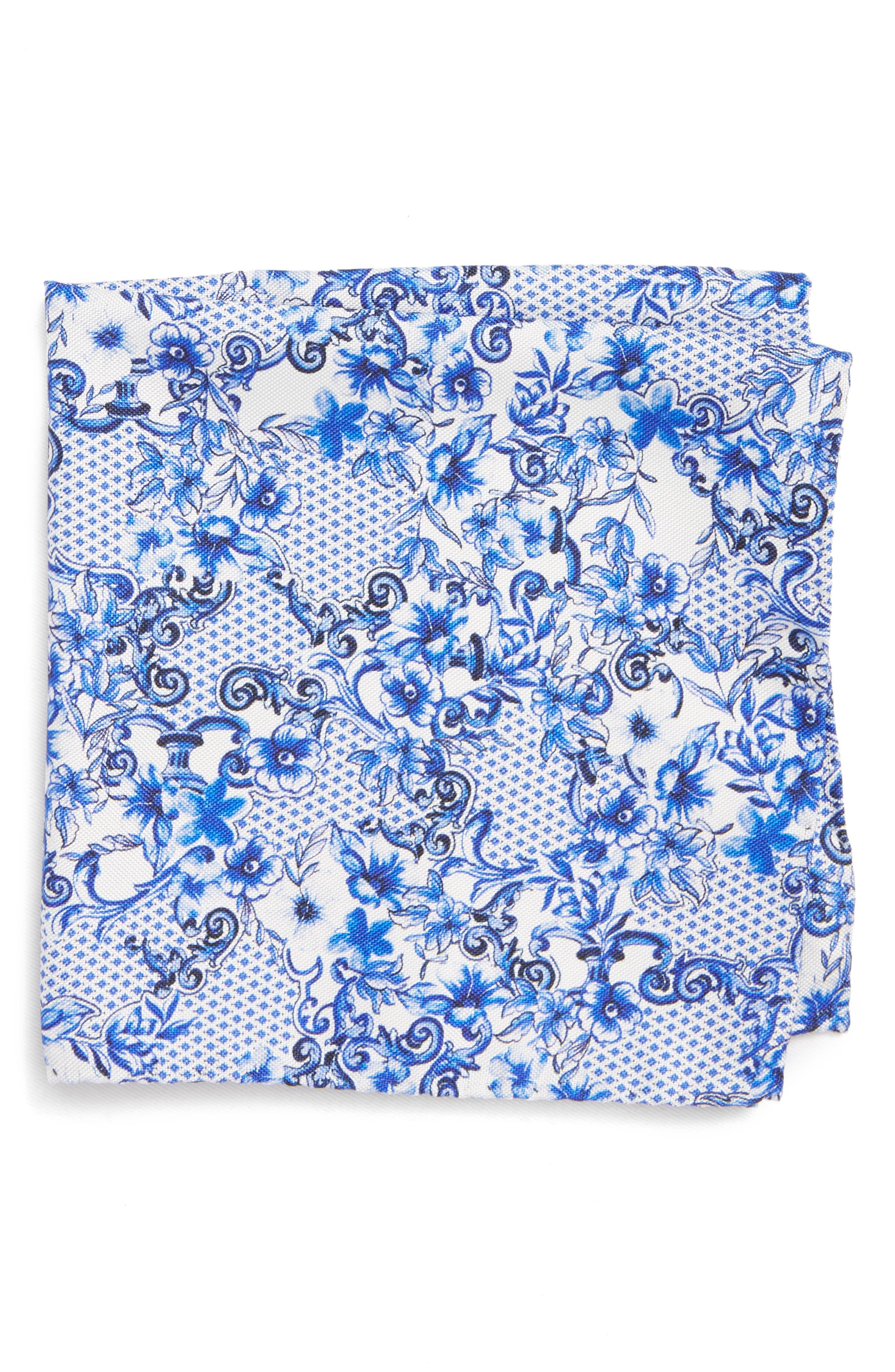Floral Tile Silk Pocket Square,                             Main thumbnail 1, color,                             Blue