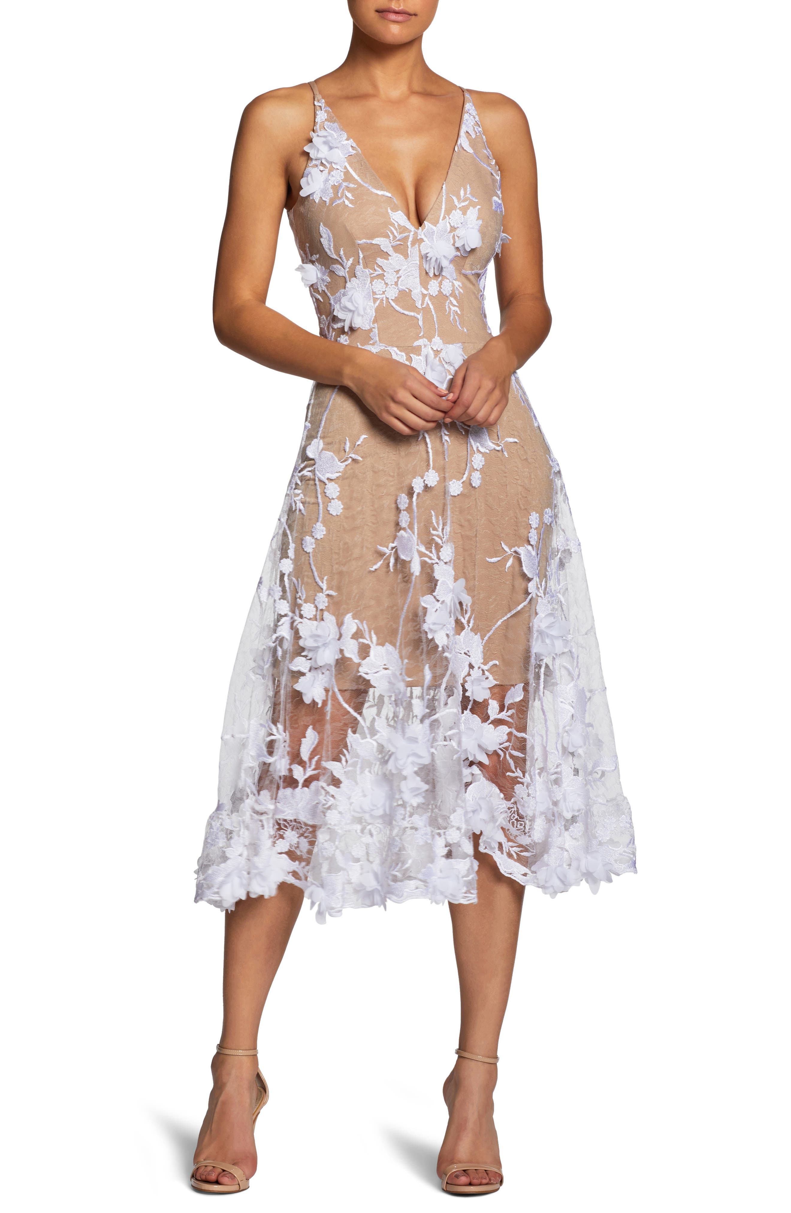 Audrey Embroidered Fit & Flare Dress,                             Main thumbnail 1, color,                             Off White/ Nude
