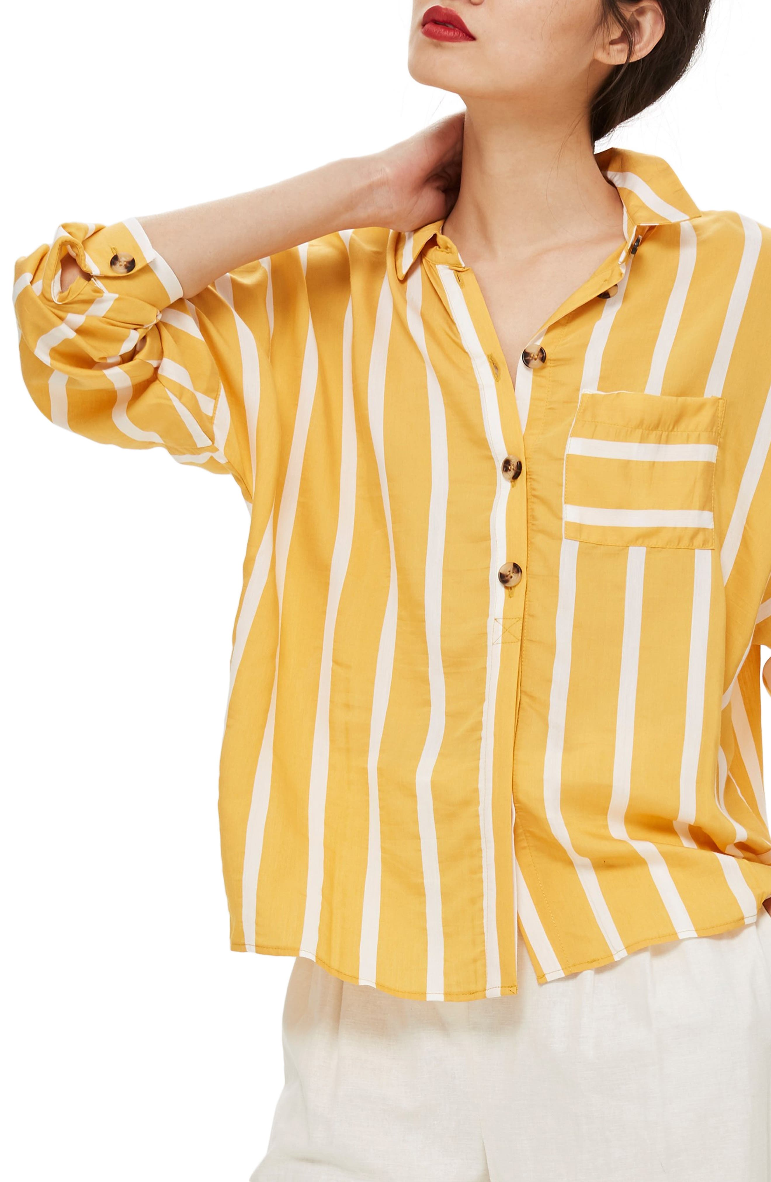Wide Stripe Shirt,                         Main,                         color, Yellow Multi