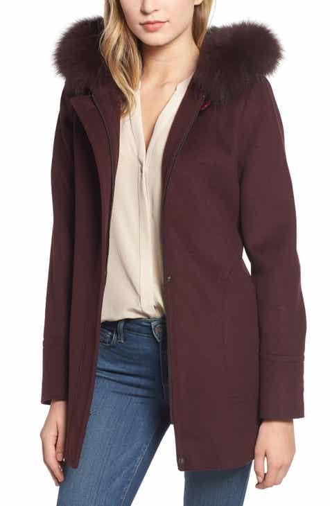 9eaa1e1eff8 Kristen Blake Genuine Fox Fur Trim Hooded Wool Coat (Regular   Petite)