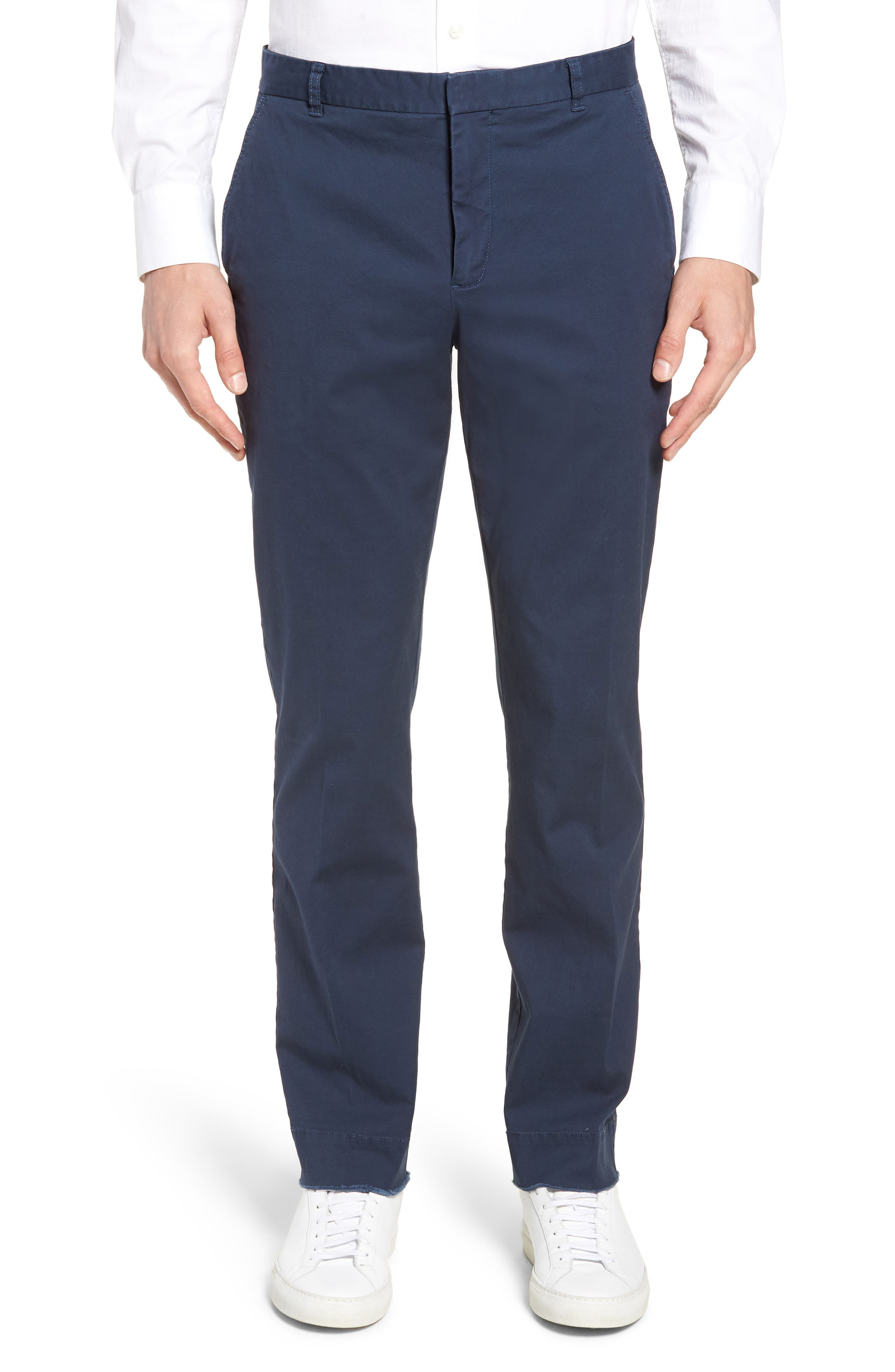 Slim Fit Stretch Twill Pants,                         Main,                         color, Navy