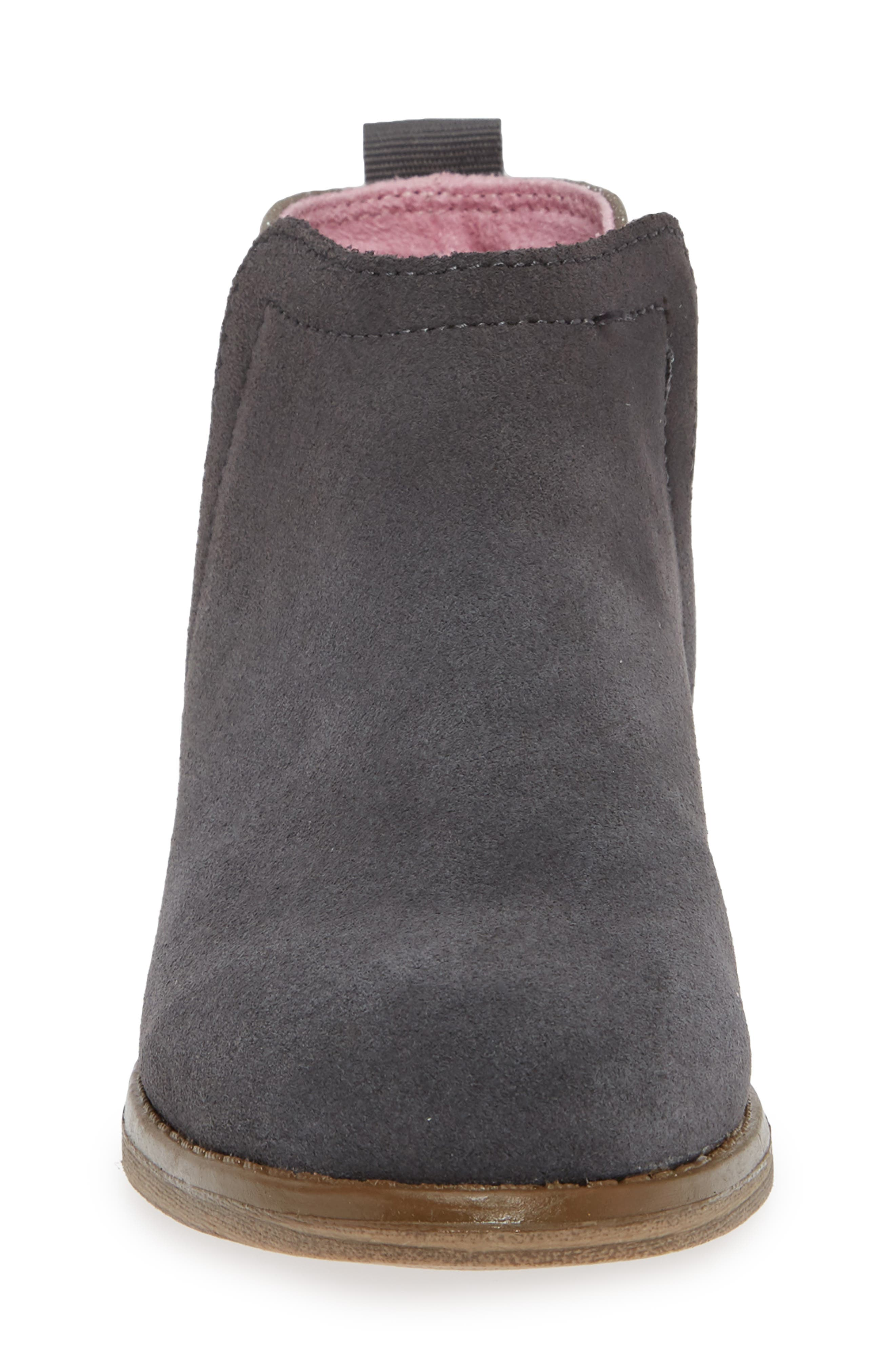 Deia Mixed Media Bootie,                             Alternate thumbnail 4, color,                             Grey Suede Glimmer