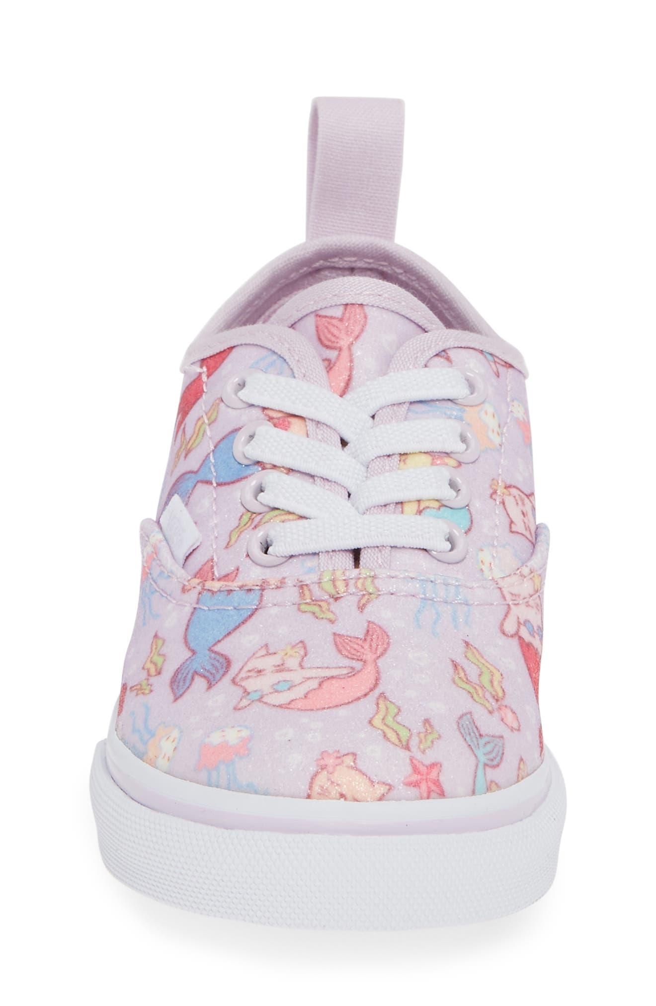 Authentic Elastic Lace Sneaker,                             Alternate thumbnail 4, color,                             Lavender Fog/ True White