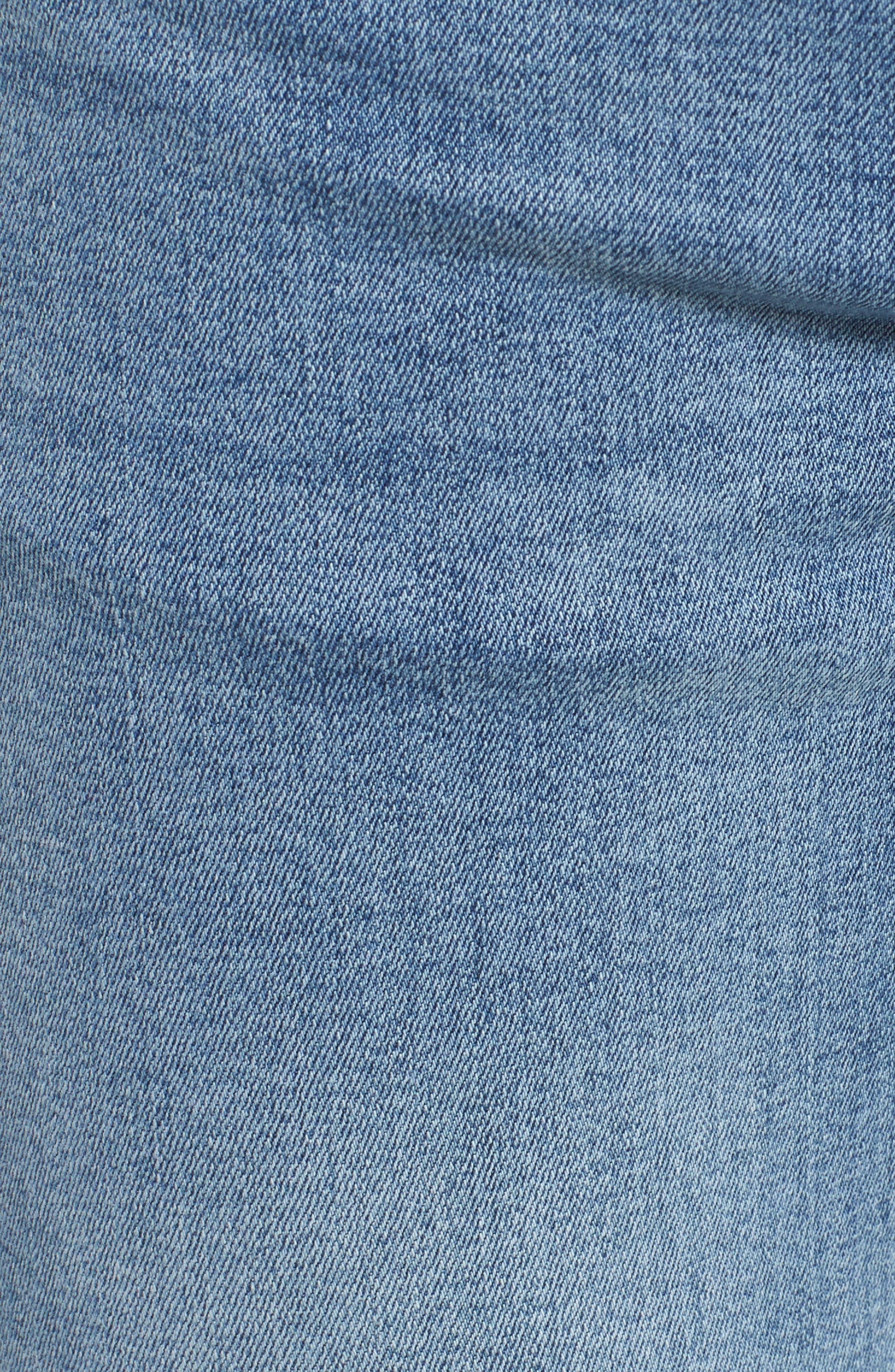 Snap Skinny Fit Jeans,                             Alternate thumbnail 5, color,                             Yonder Blue Wash