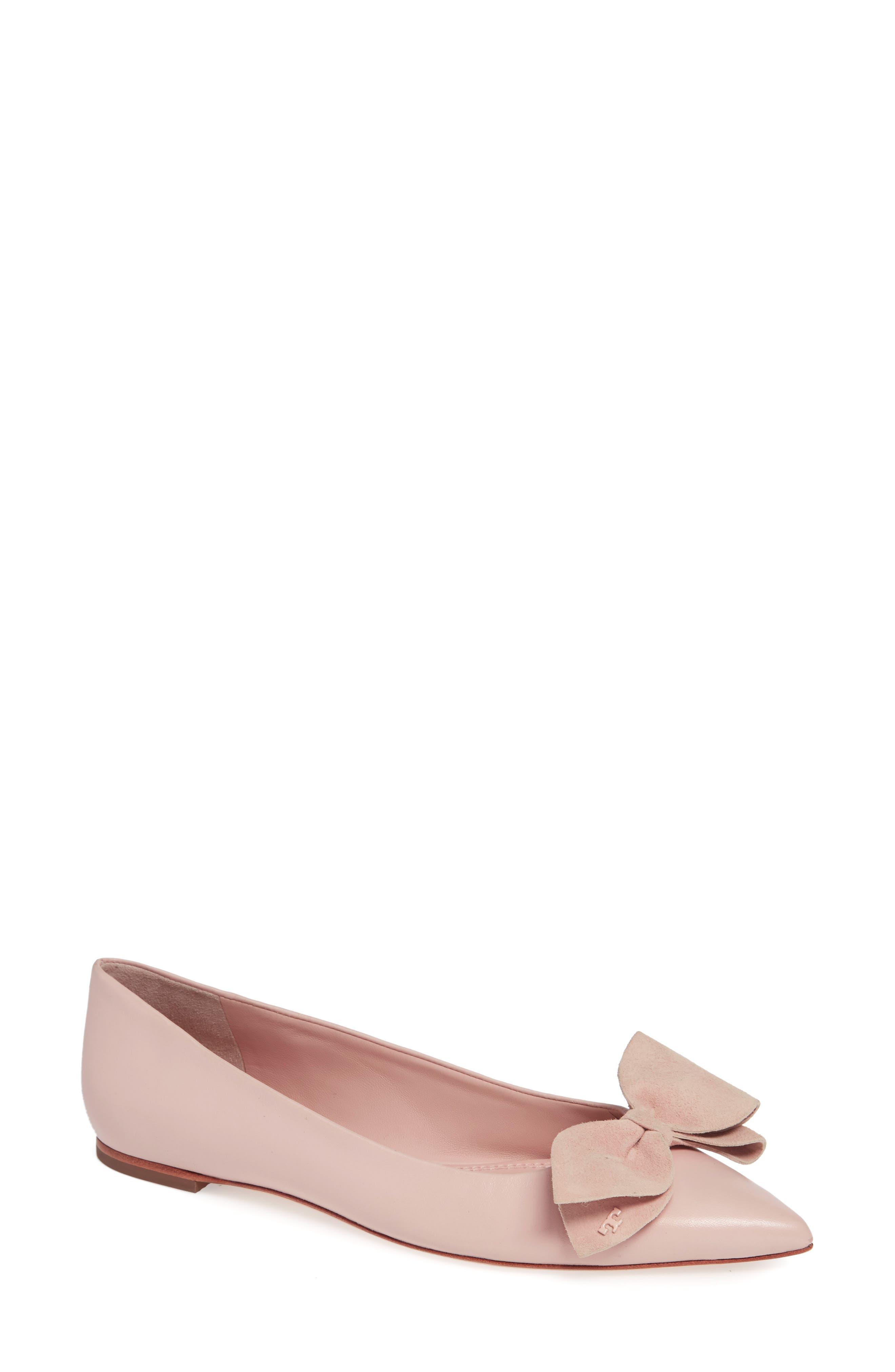 Rosalind Bow Pointy Toe Flat,                             Main thumbnail 1, color,                             Sea Shell Pink