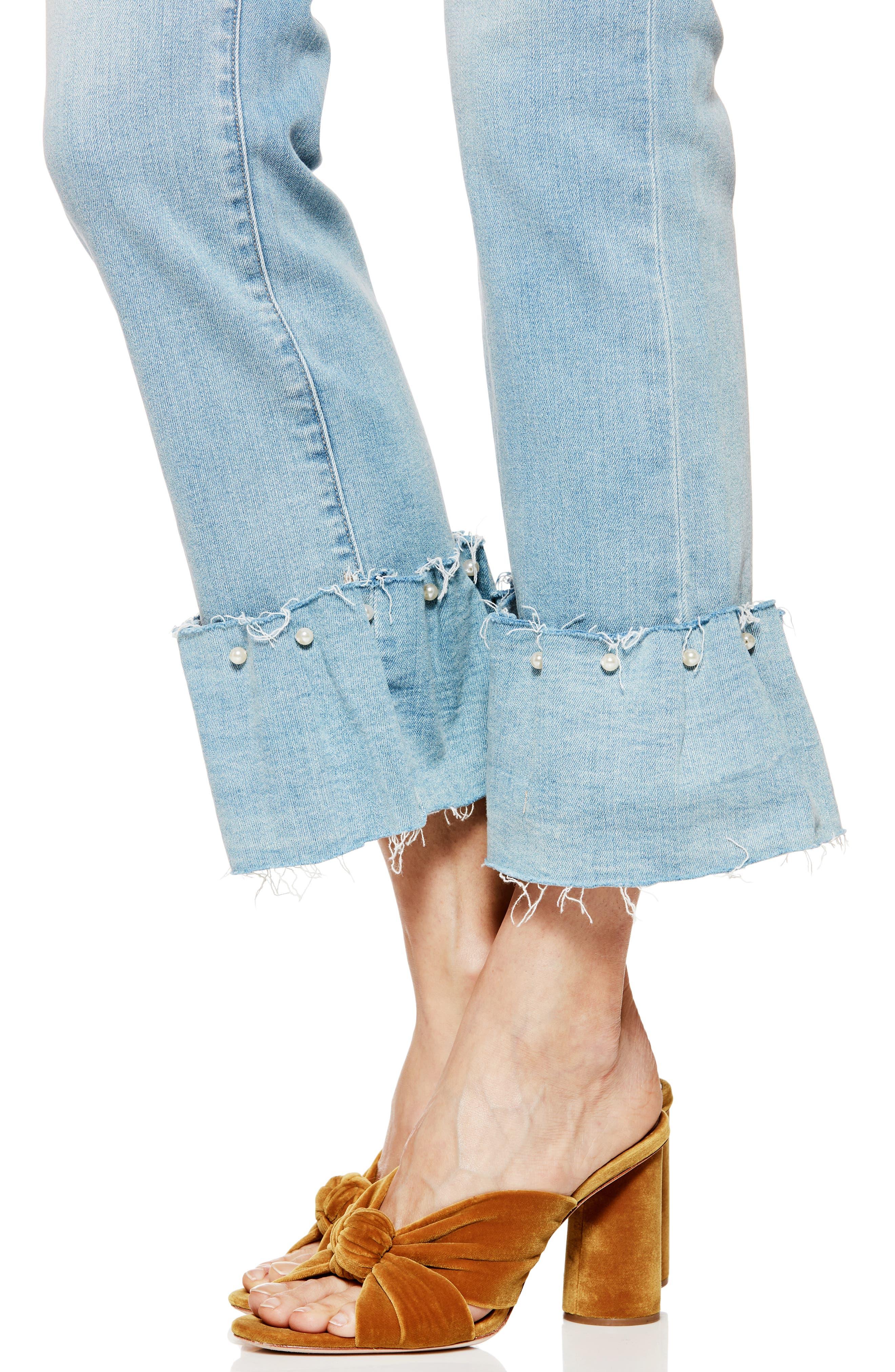 Transcend Vintage - Hoxton Embellished Ruffle High Waist Jeans,                             Alternate thumbnail 4, color,                             Palms