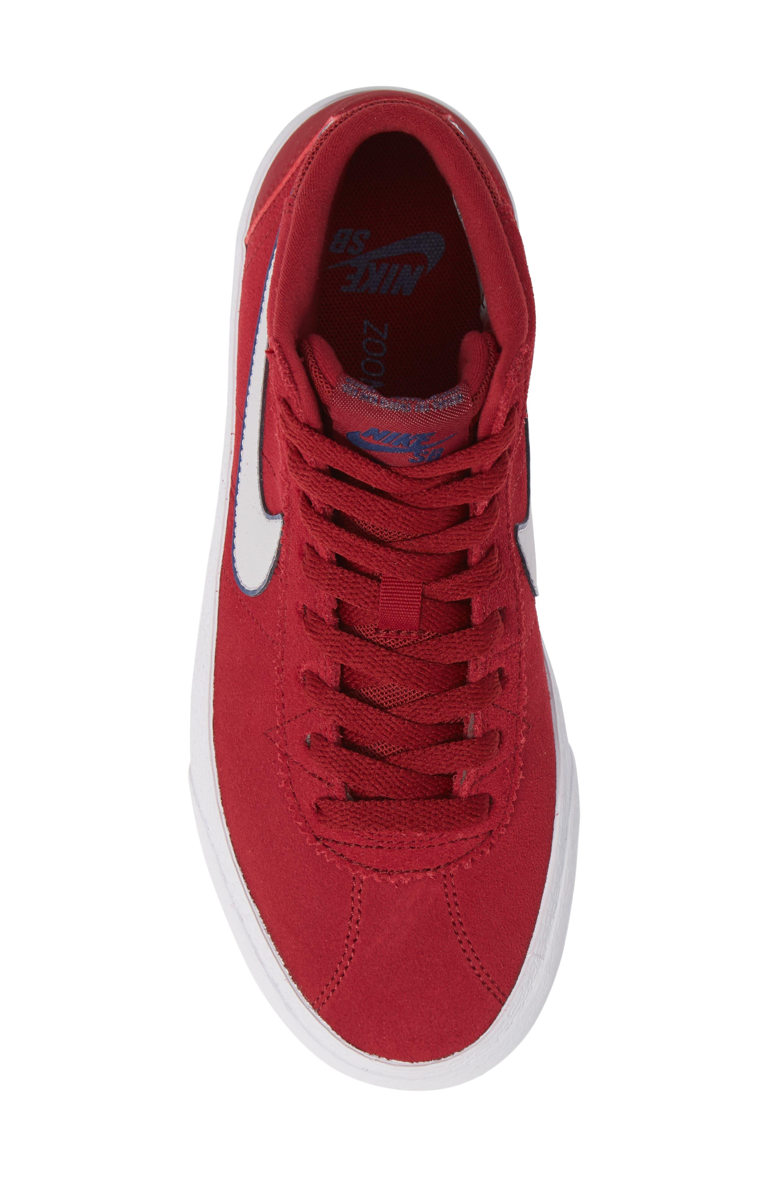 SB Bruin Hi Skateboarding Sneaker,                             Alternate thumbnail 6, color,                             Red Crush/ Vast Grey/ White