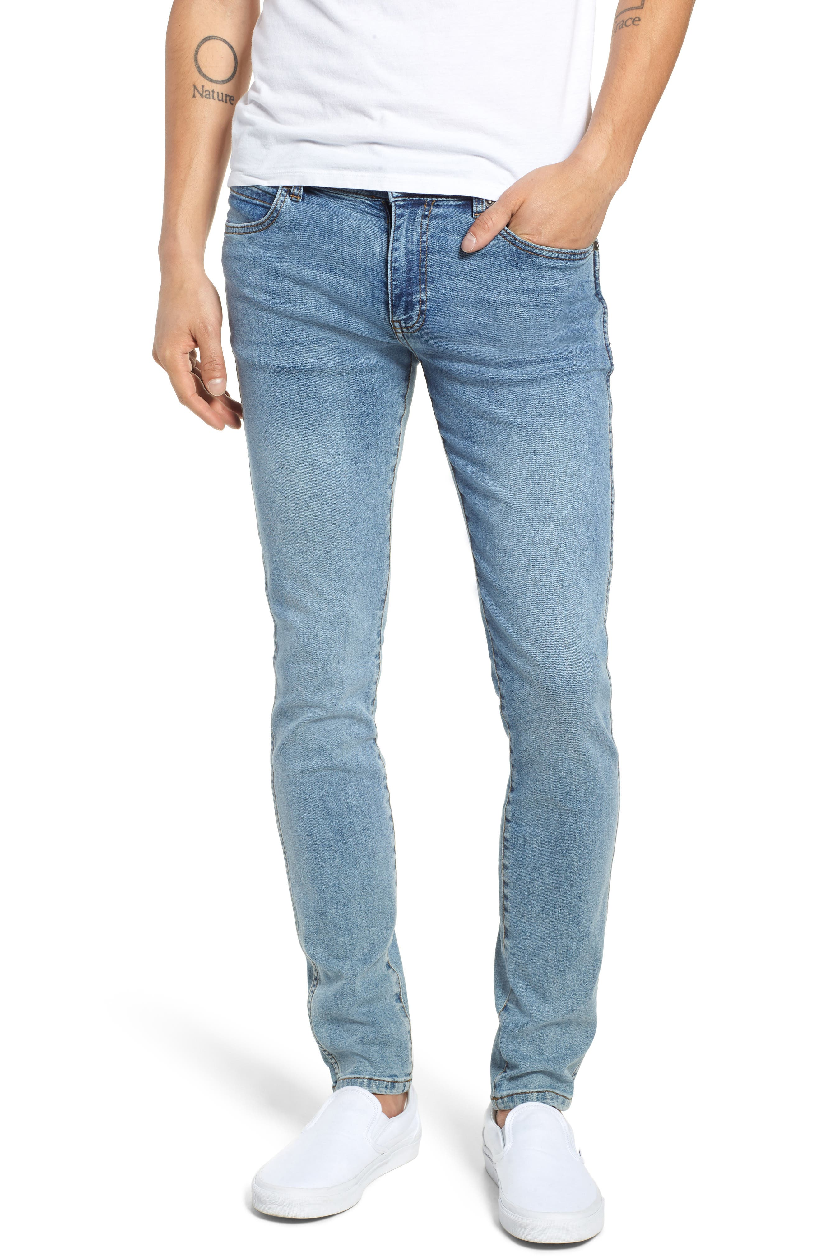 Snap Skinny Fit Jeans,                             Main thumbnail 1, color,                             Yonder Blue Wash