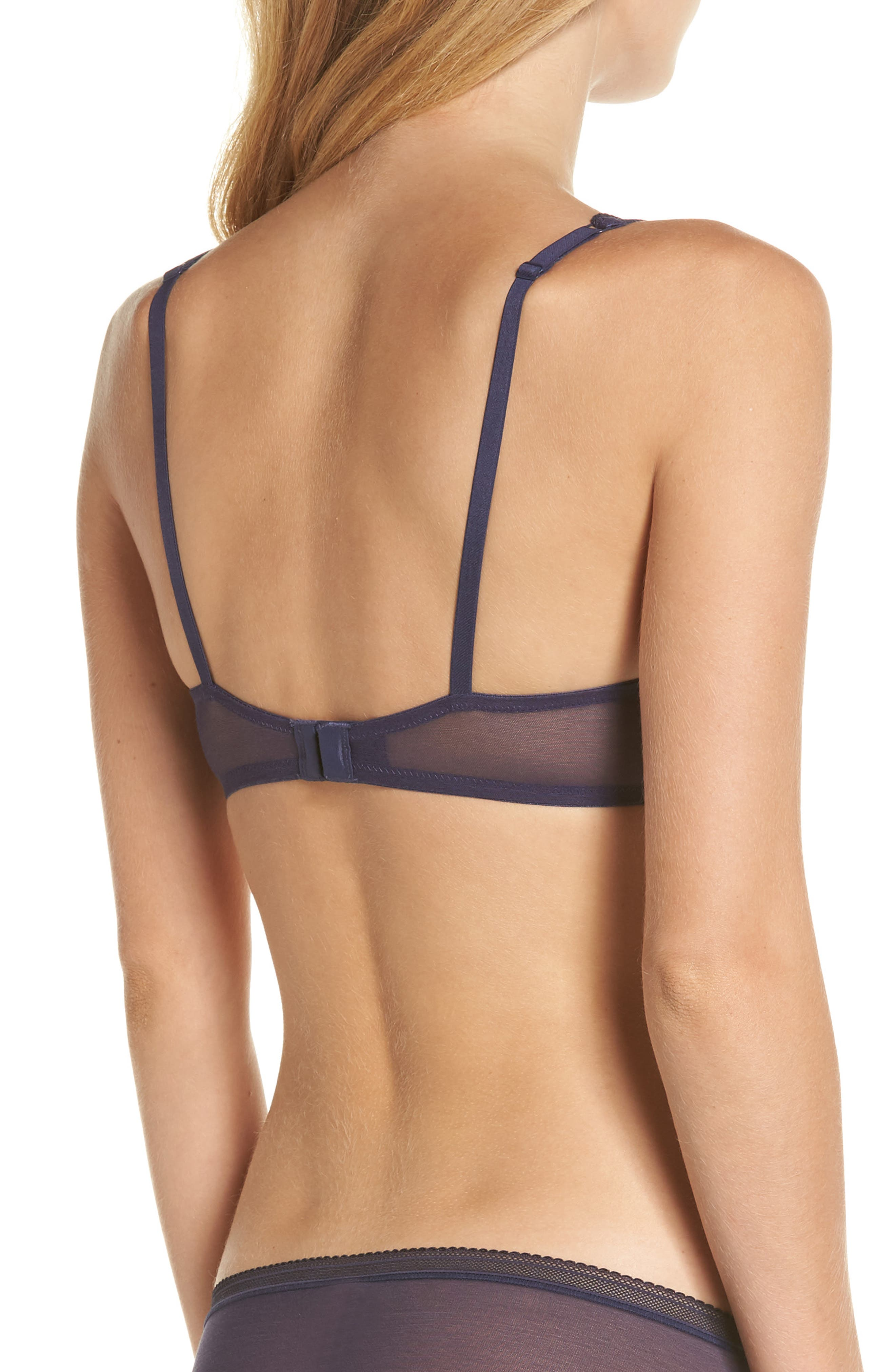 Mesh Underwire Bra,                             Alternate thumbnail 2, color,                             Navy