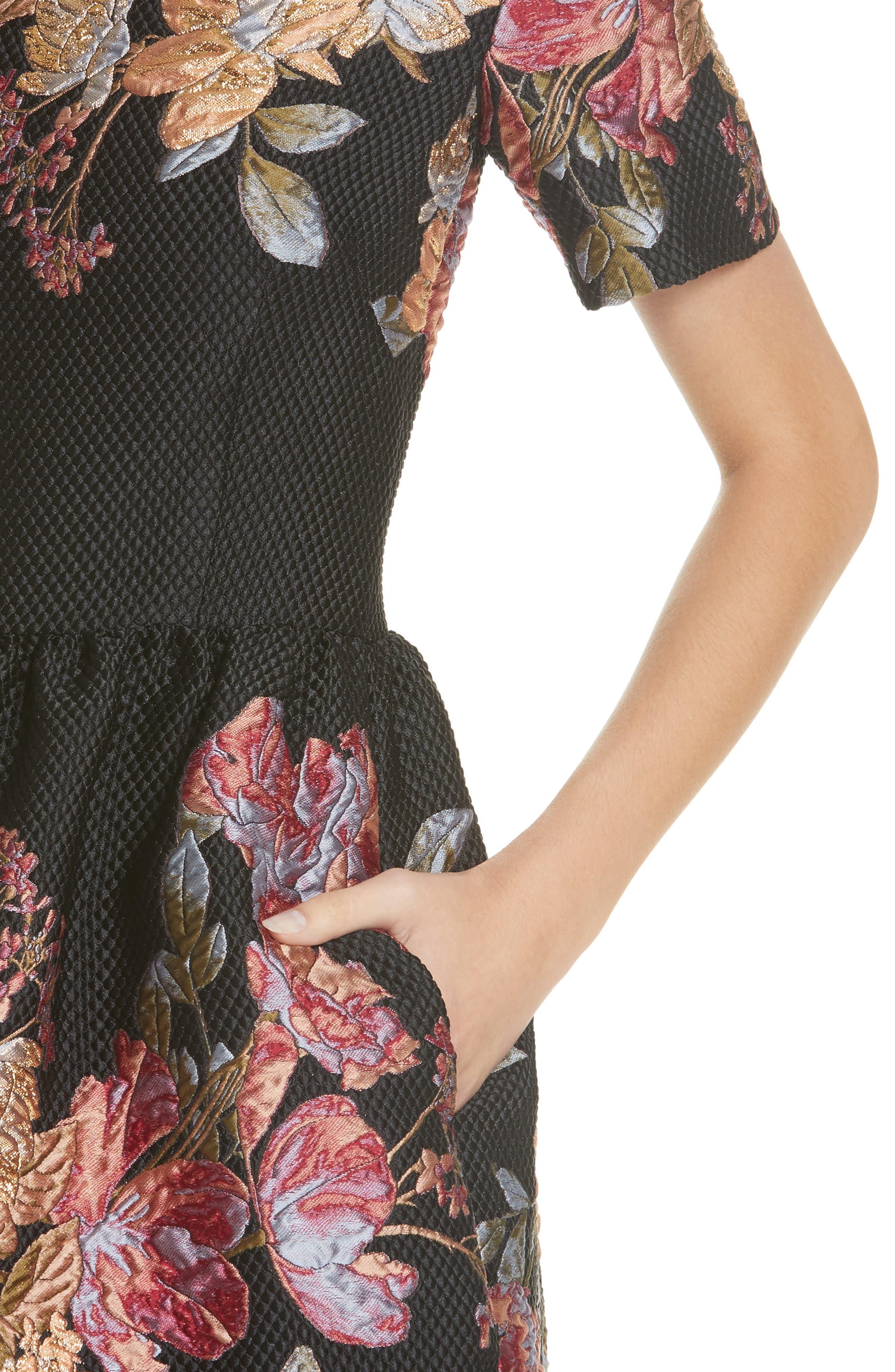 Habitat Fit & Flare Dress,                             Alternate thumbnail 5, color,                             Black