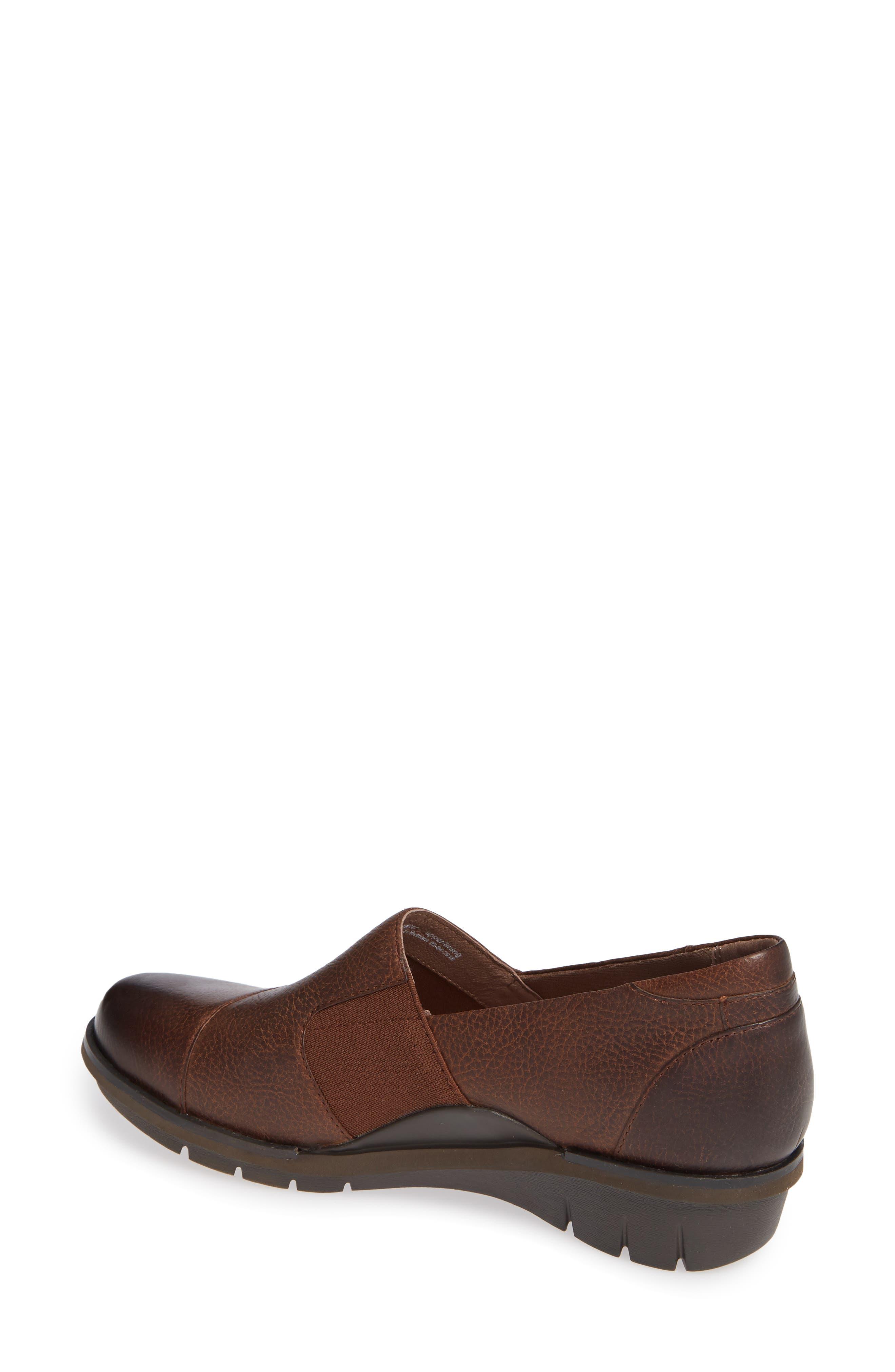 Dankso Julia Wedge Slip-On,                             Alternate thumbnail 2, color,                             Brown Burnished Nubuck Leather