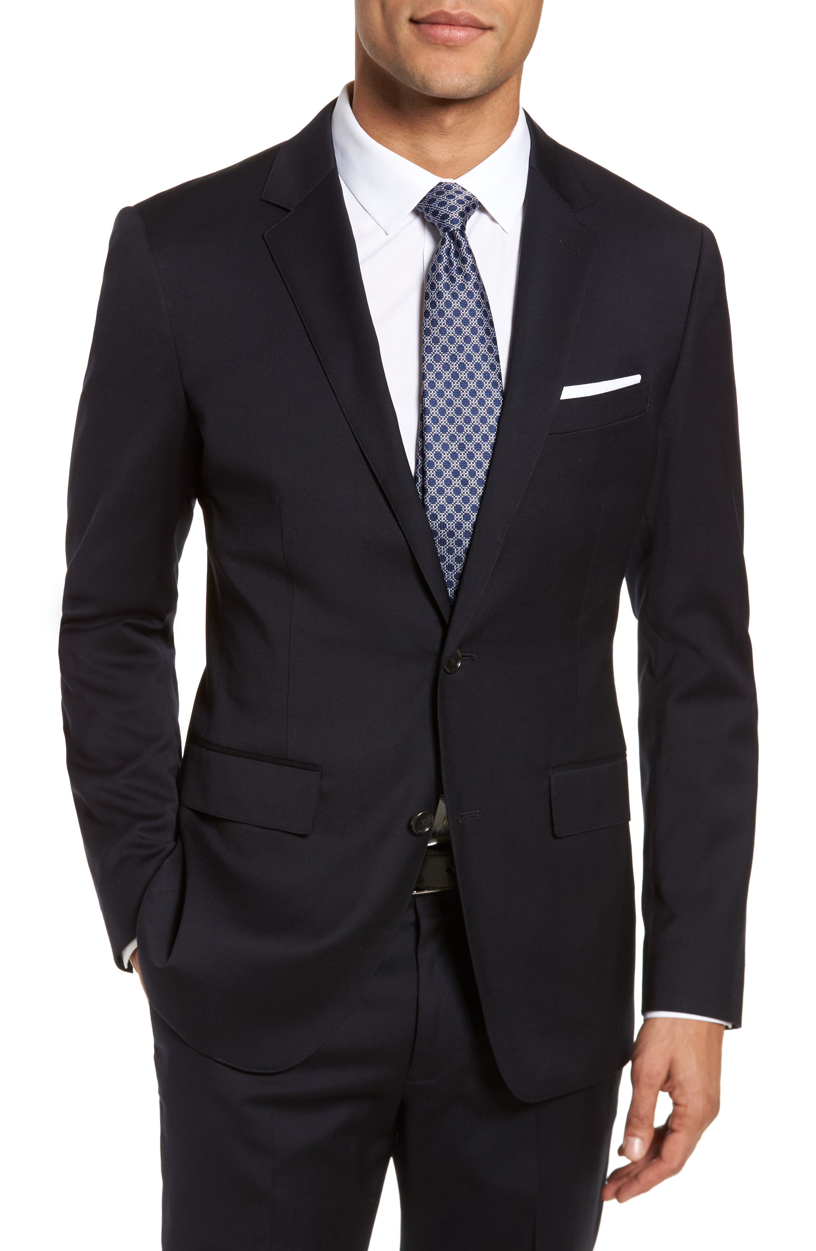 BONOBOS Jetsetter Trim Fit Stretch Wool Suit Jacket in Black
