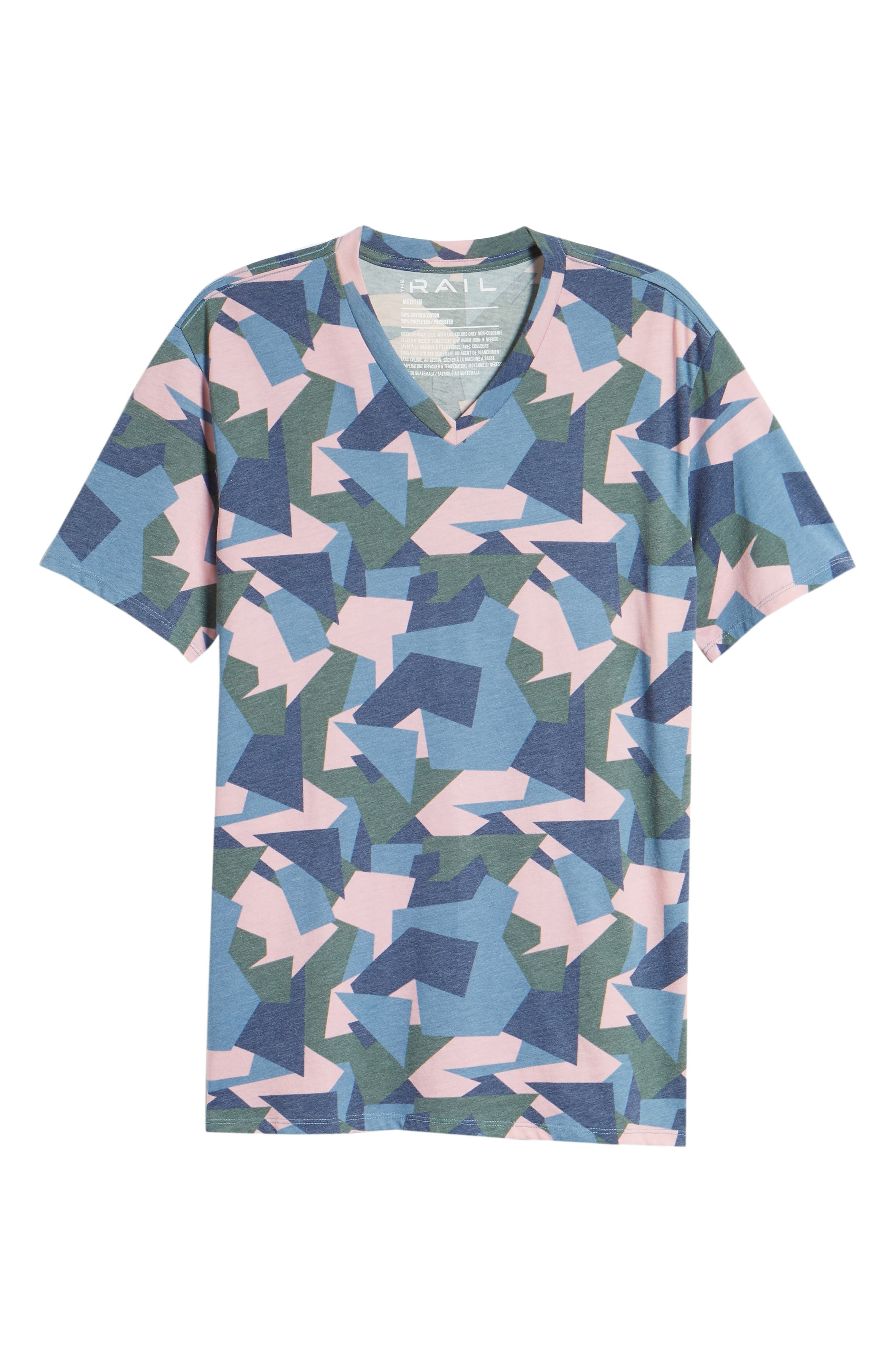 V-Neck T-Shirt,                             Alternate thumbnail 6, color,                             Pink / Grey Abstract Geo Camo
