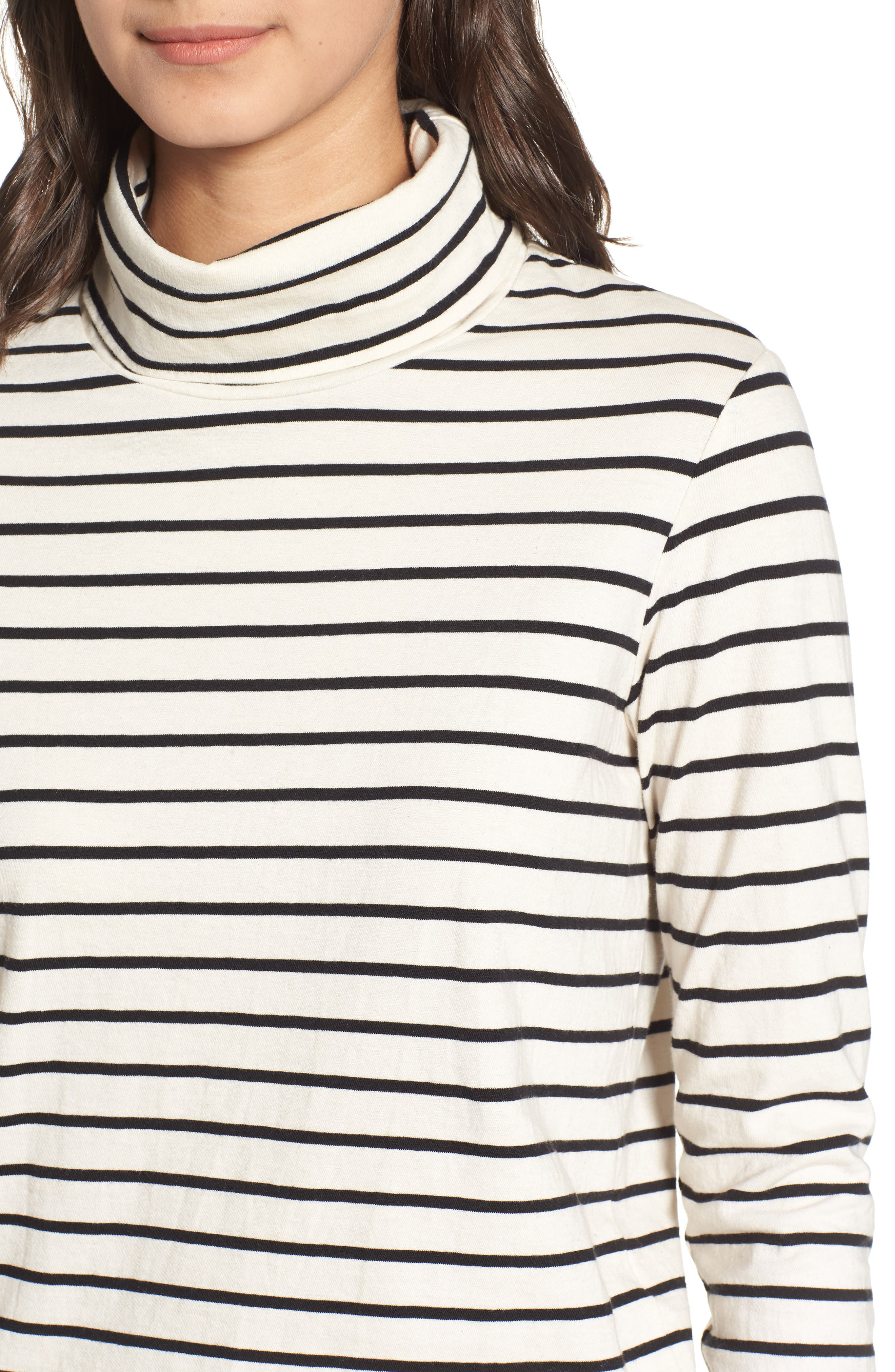 Stripe Mock Neck Sweater,                             Alternate thumbnail 3, color,                             Black/ Cream