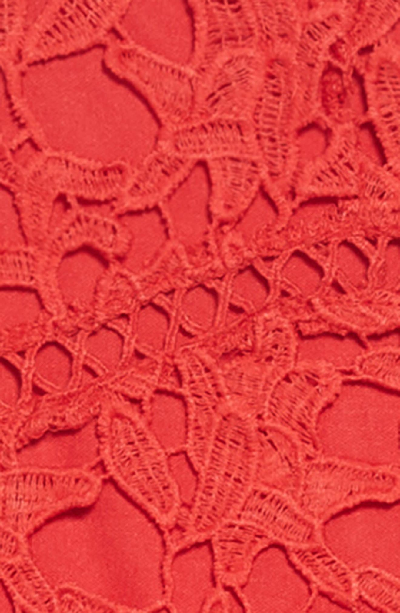 Floral Lace Dress,                             Alternate thumbnail 3, color,                             Red