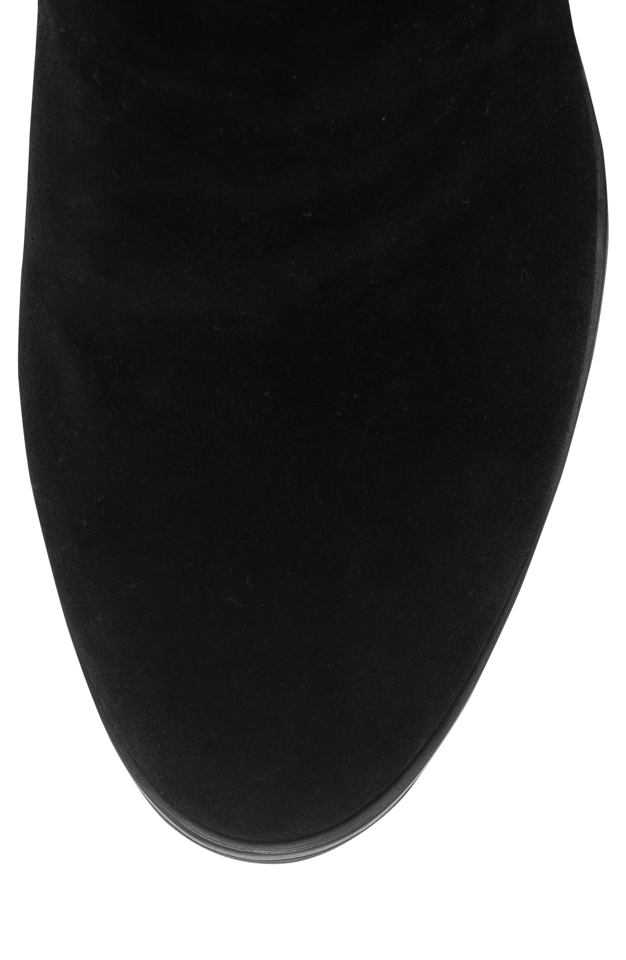 Edith Knee-High Waterproof Suede Boot,                             Alternate thumbnail 4, color,                             Black Suede