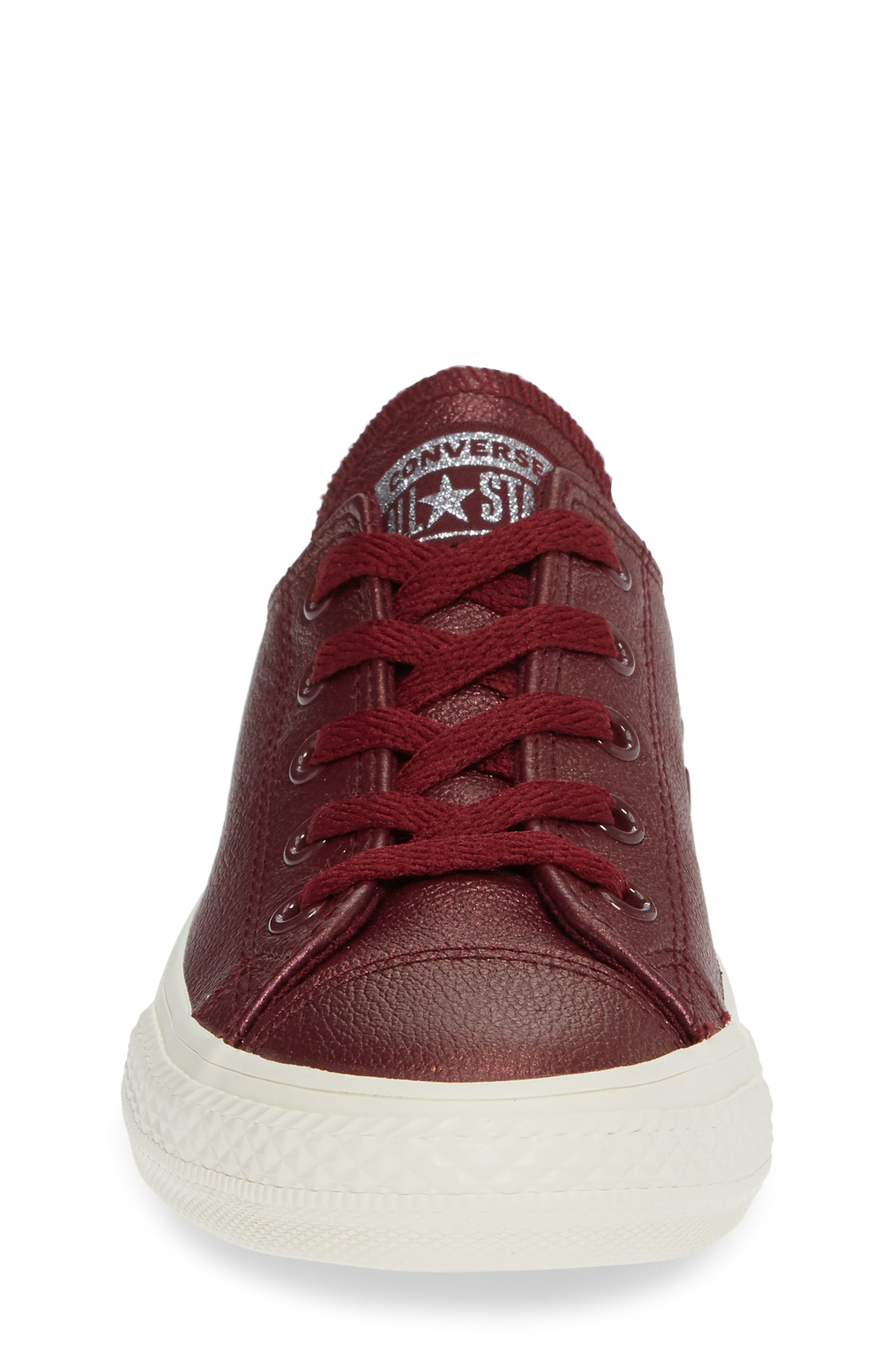 Chuck Taylor<sup>®</sup> All Star<sup>®</sup> Metallic Faux Leather Ox Sneaker,                             Alternate thumbnail 5, color,                             Dark Burgundy