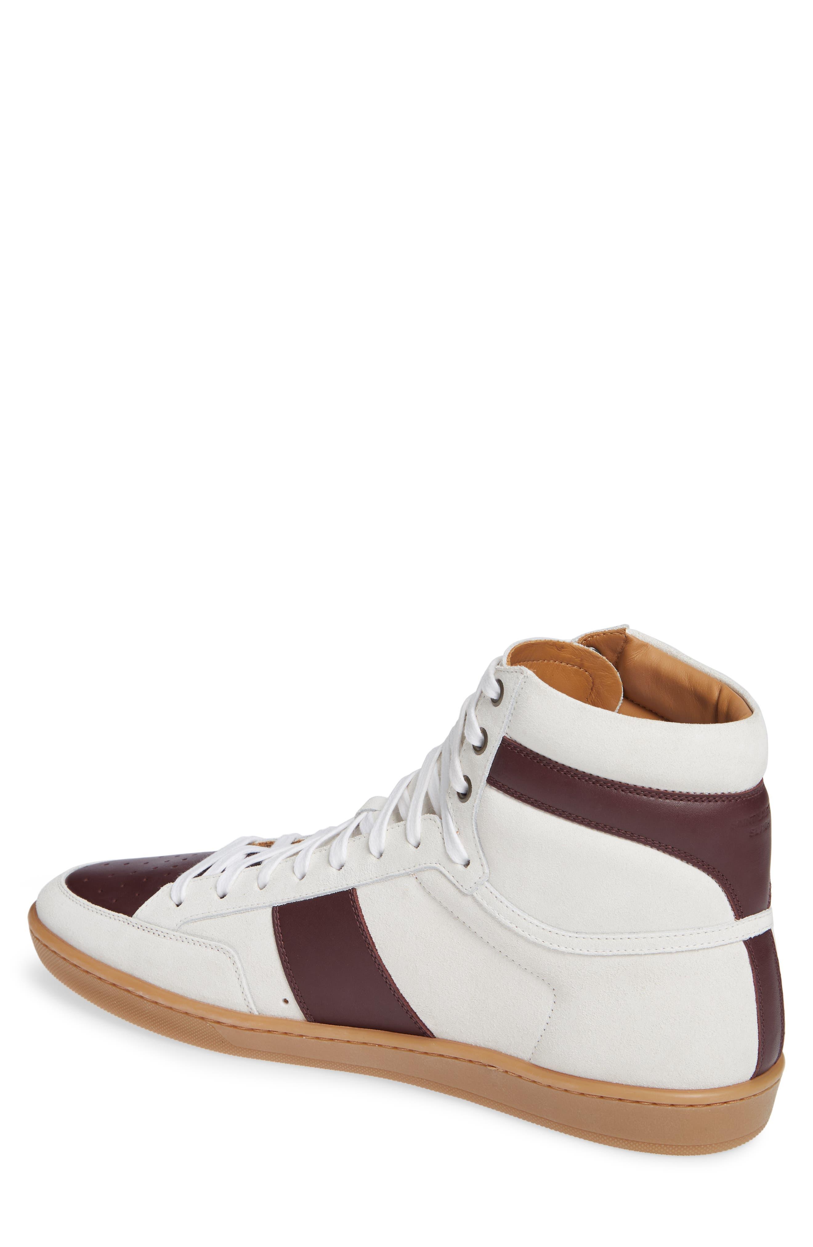 SL/10H Signature Court Classic High-Top Sneaker,                             Alternate thumbnail 2, color,                             Milk/ Barolo