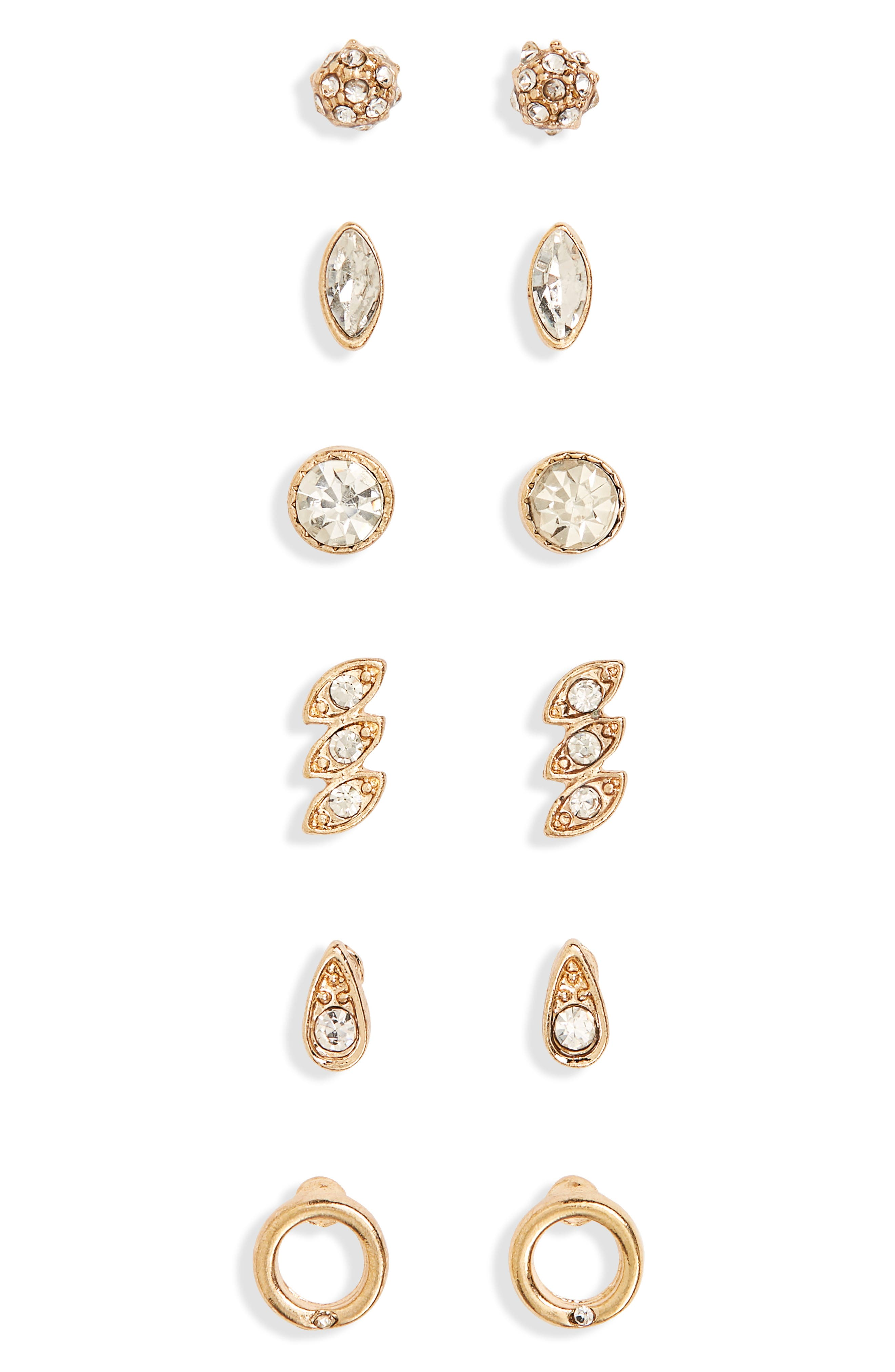 6-Pack Crystal Stud Earrings,                             Main thumbnail 1, color,                             Gold/ Crystal