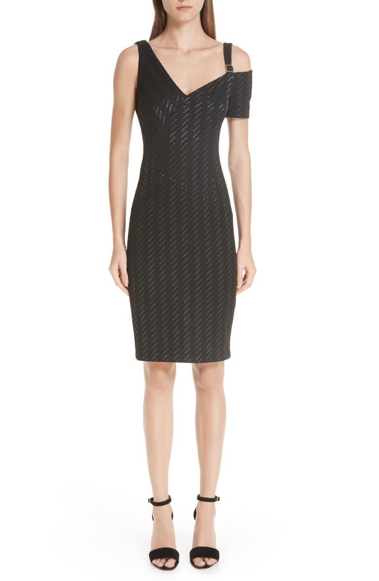 Stretch Weave Stripe Cold Shoulder Dress