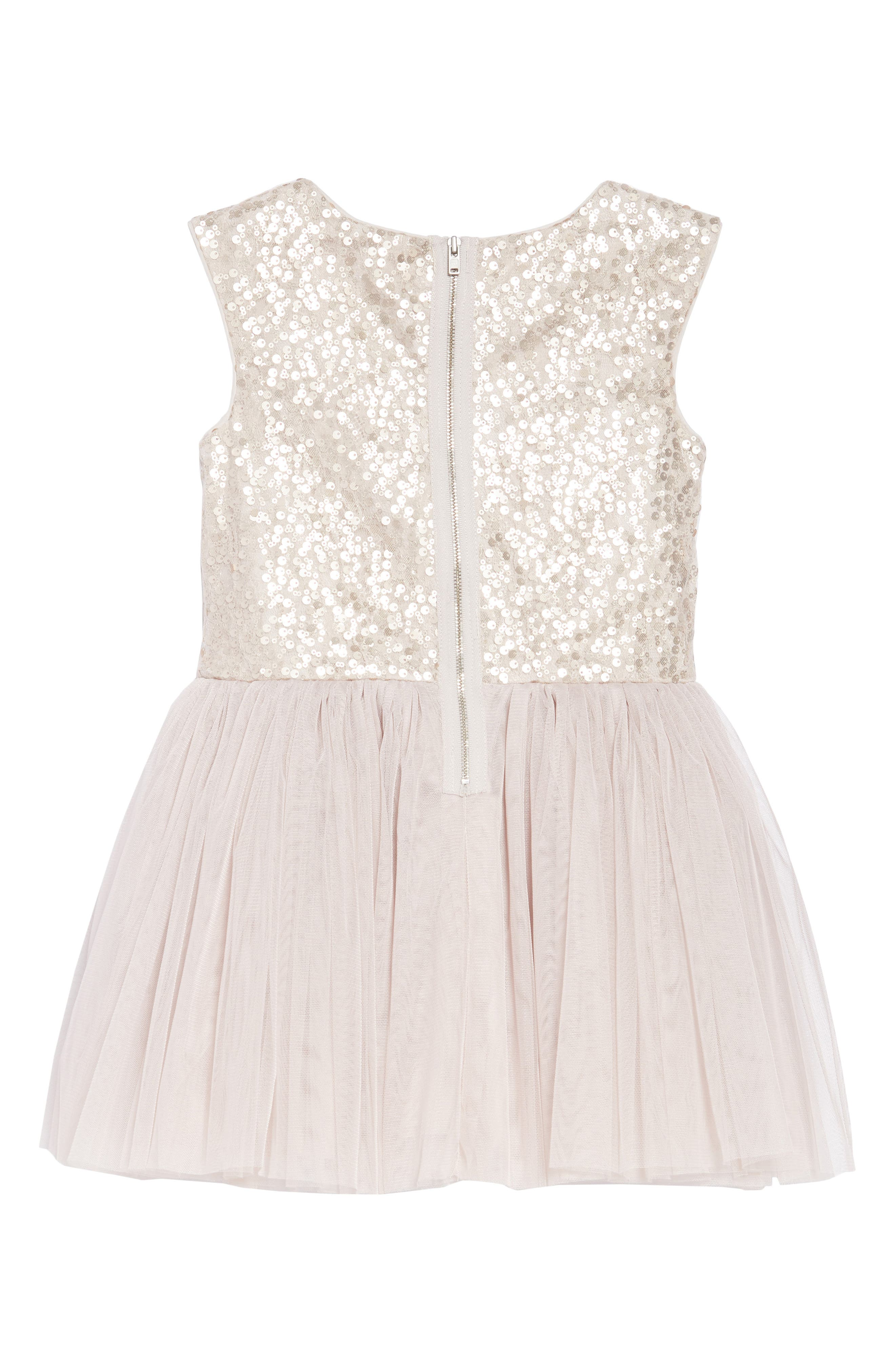 Sequin & Tulle Dress,                             Alternate thumbnail 2, color,                             Taupe