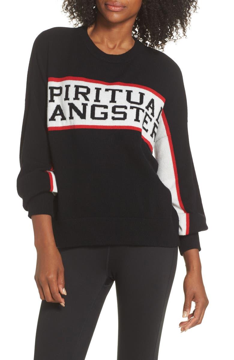 SPIRITUAL GANGSTER Intarsia Logo Wool & Cashmere Sweater