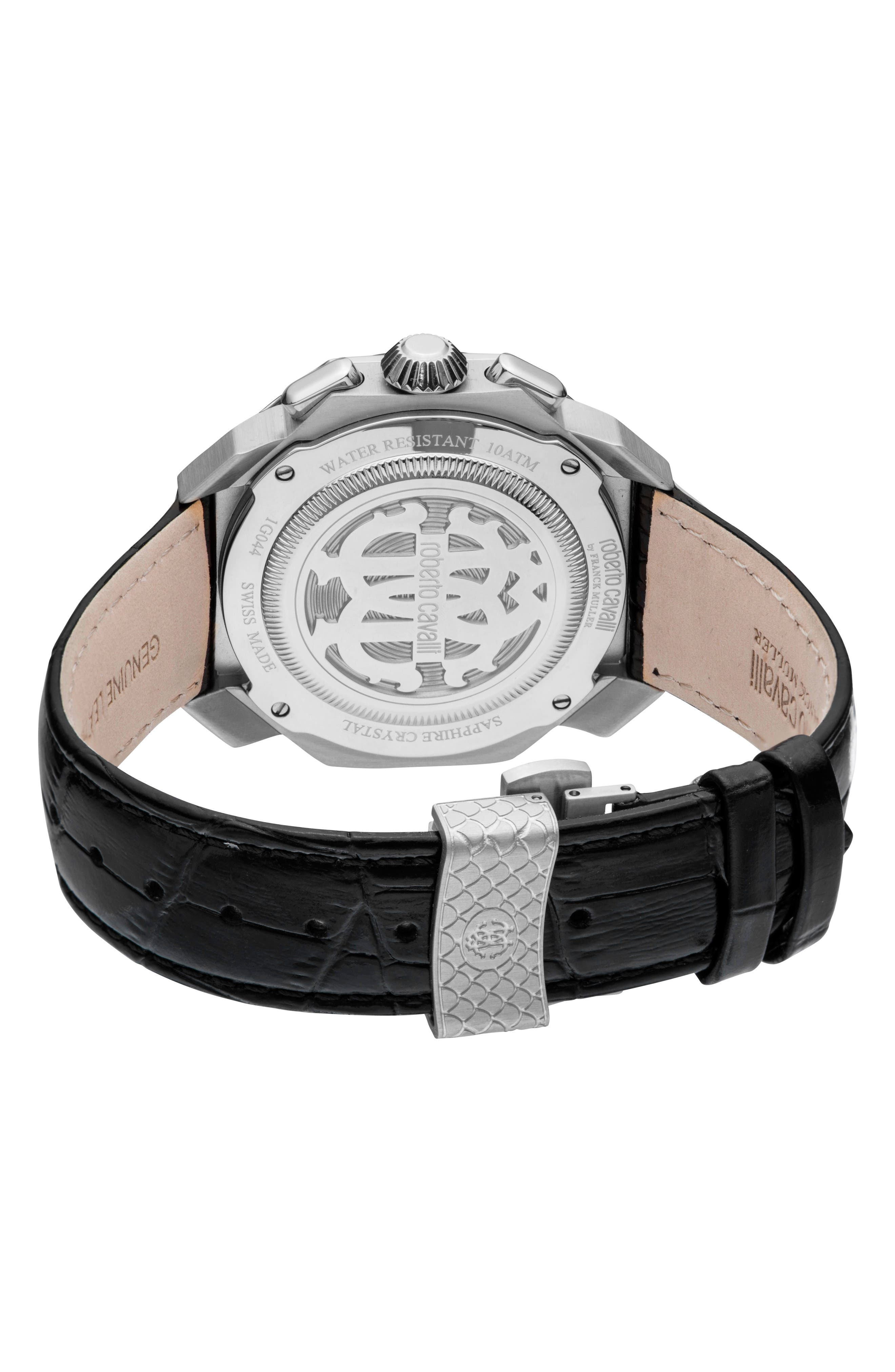 Sport Chronograph Leather Strap Watch,                             Alternate thumbnail 2, color,                             Black/ Silver/ Black