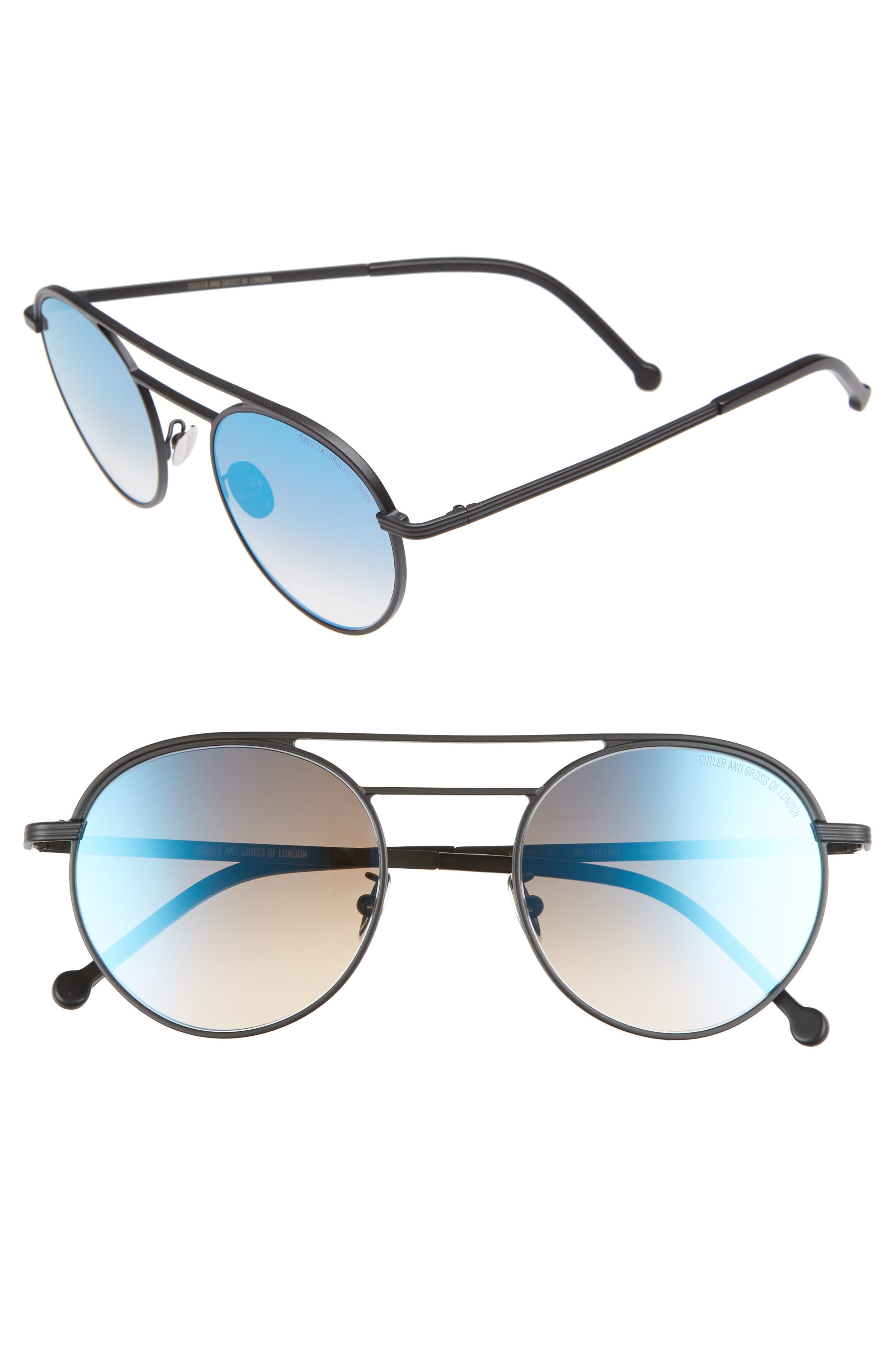 CUTLER AND GROSS 50MM POLARIZED ROUND SUNGLASSES - MATTE BLACK/ BLUE FLASH