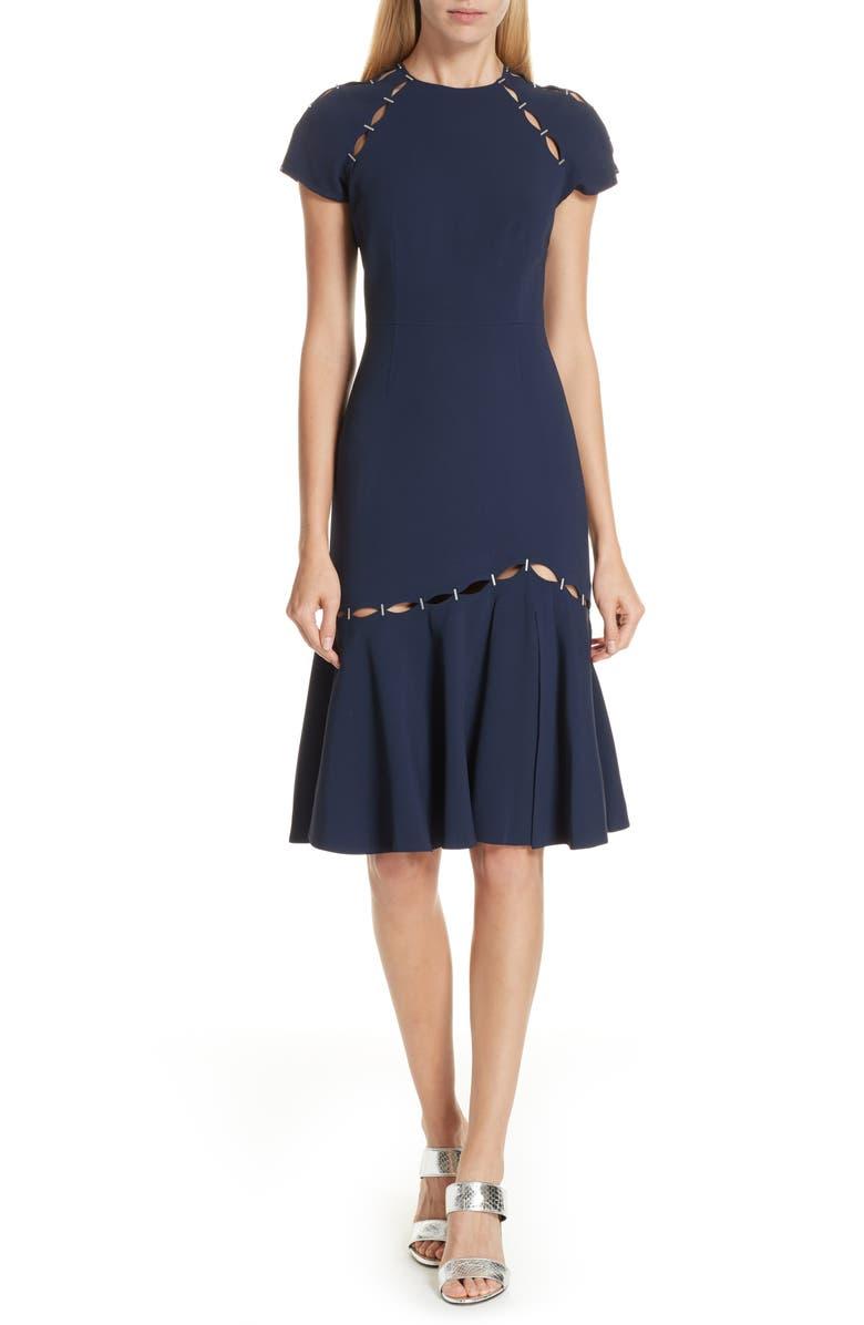 Stapled Crepe T-Shirt Dress