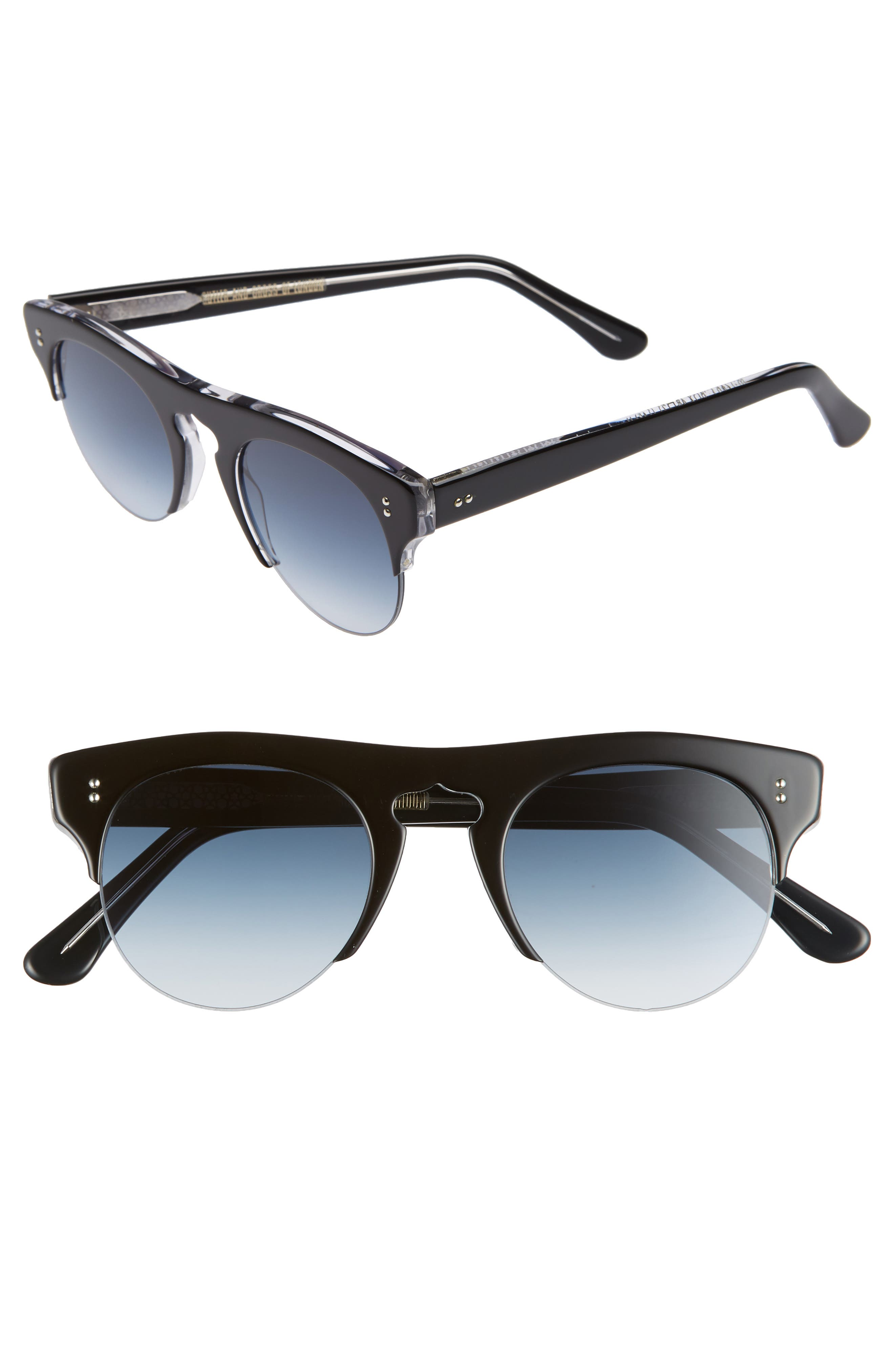 CUTLER AND GROSS 48MM POLARIZED BROWLINE SUNGLASSES - BLACK ON CRYSTAL/ BLUE