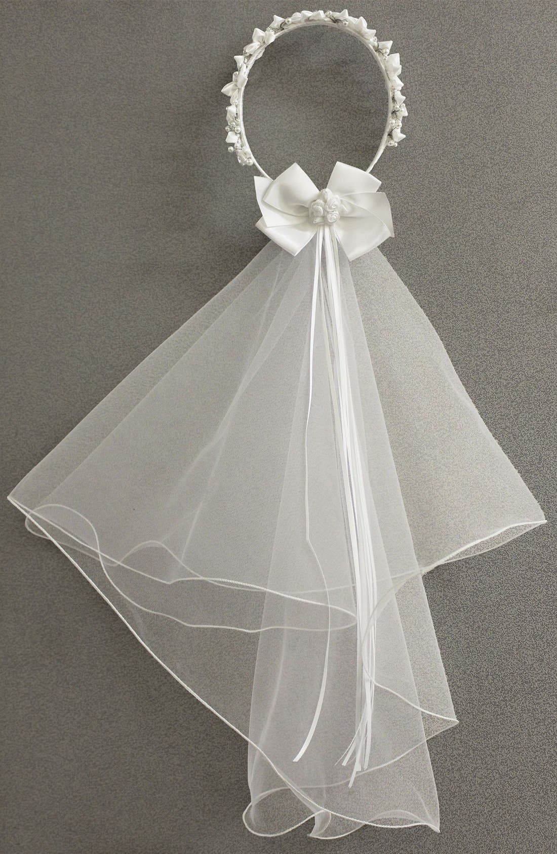 Alternate Image 2  - Sorbet Communion Wreath with Removable Veil (Girls)