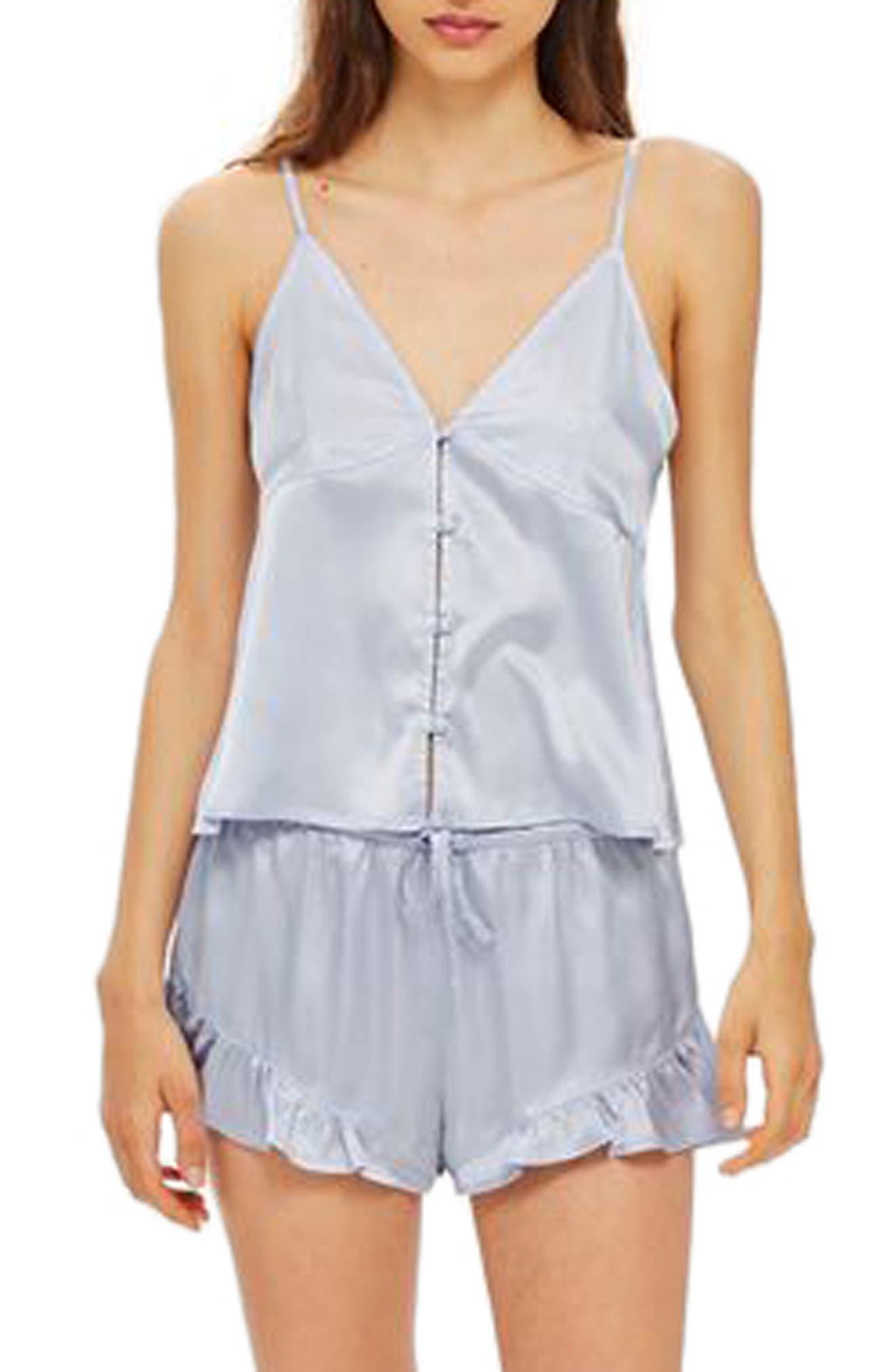 Lucina Satin Short Pajamas,                         Main,                         color, Light Blue