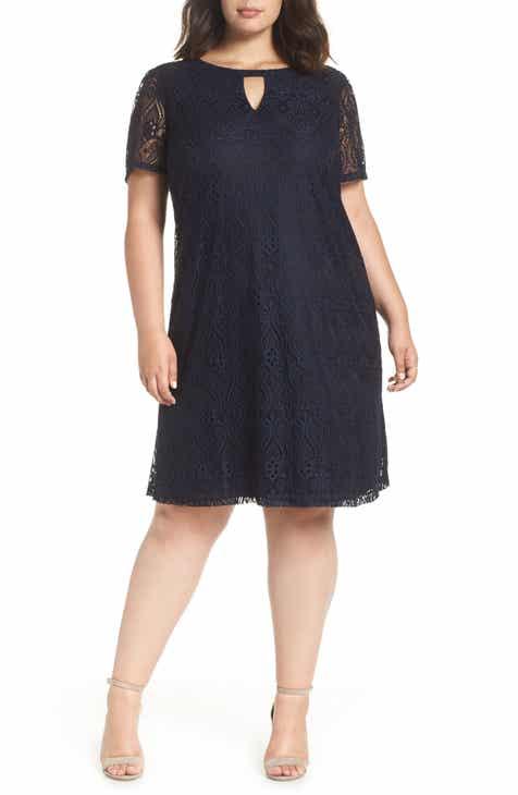 ECI Keyhole Neck Lace A-Line Dress (Plus Size)