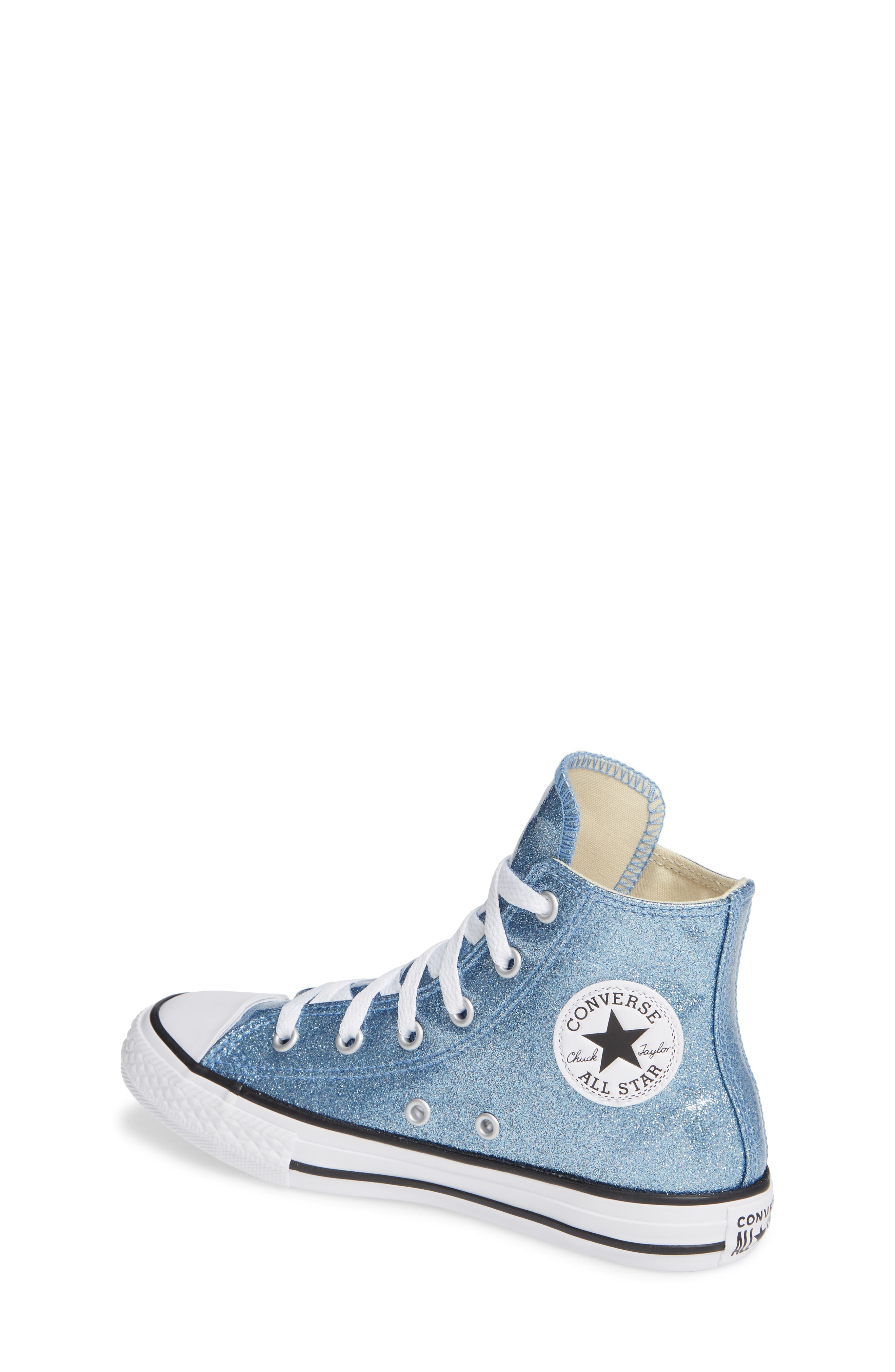All Star<sup>®</sup> Glitter High Top Sneaker,                             Alternate thumbnail 2, color,                             Light Blue