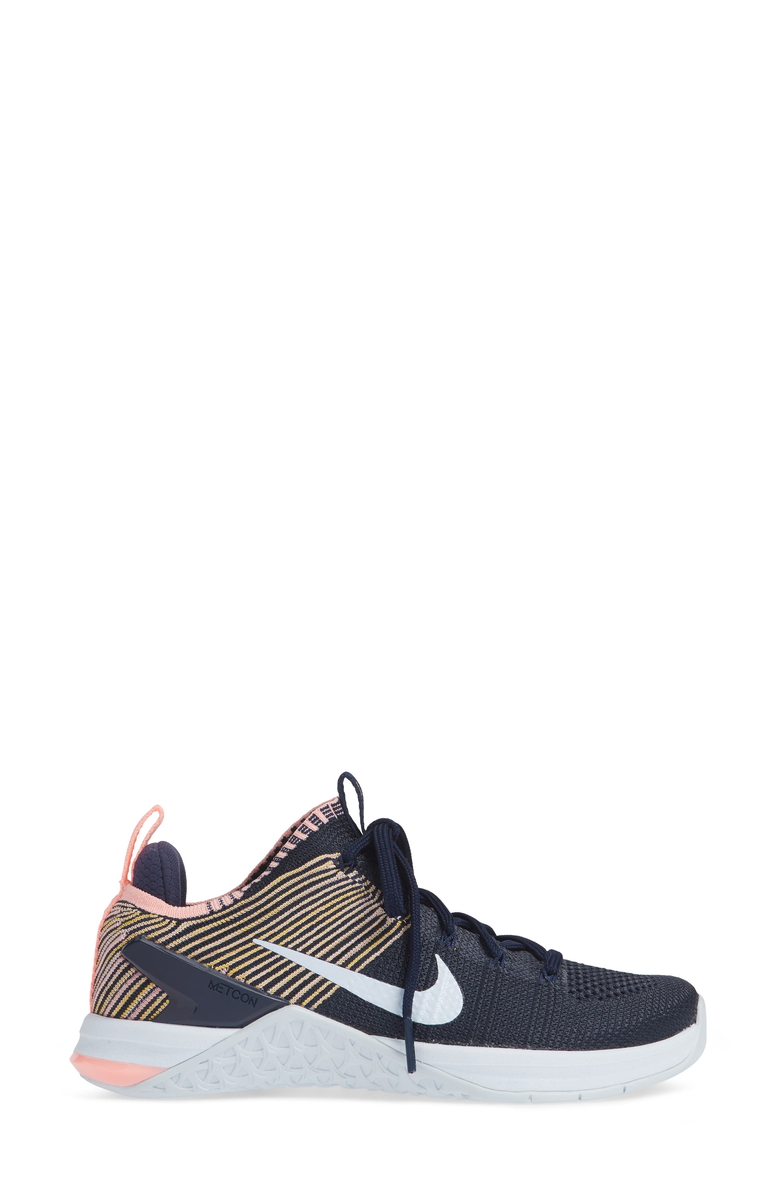 Metcon DSX Flyknit 2 Training Shoe,                             Alternate thumbnail 4, color,                             College Navy/ Blue Tint/ Pink