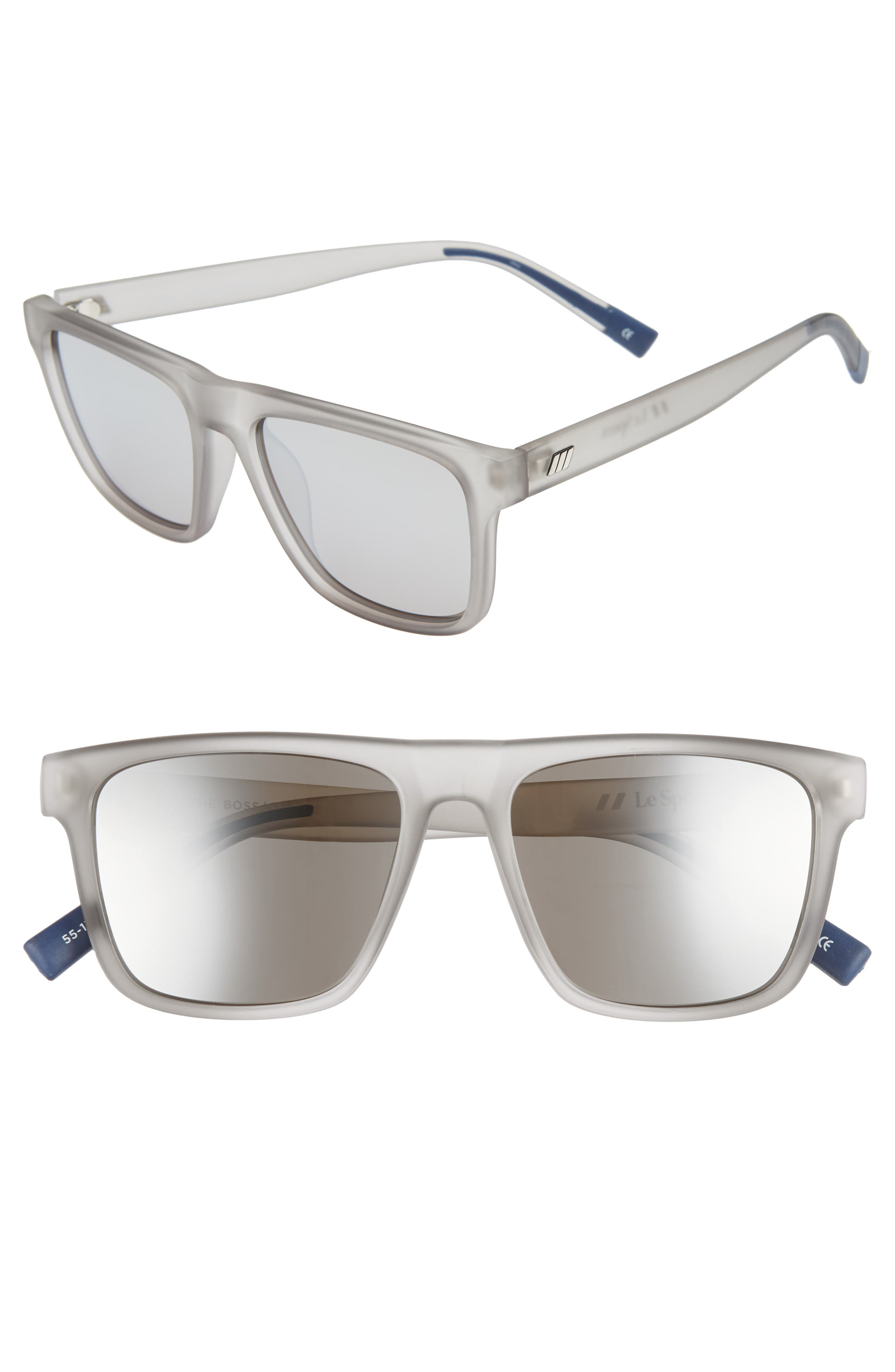 Men'S The Boss Mirrored Flat Top Square Sunglasses, 56Mm in Matte Shadow