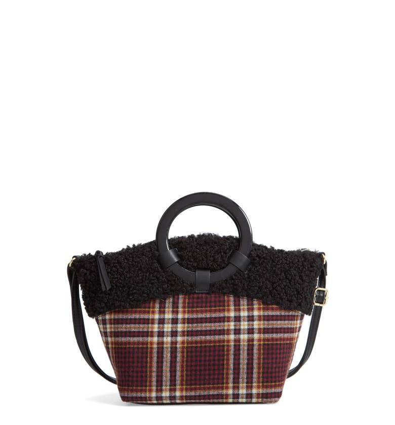 Ring Handle Plaid Tote with Faux Shearling Trim,                         Main,                         color, Burgundy Multi