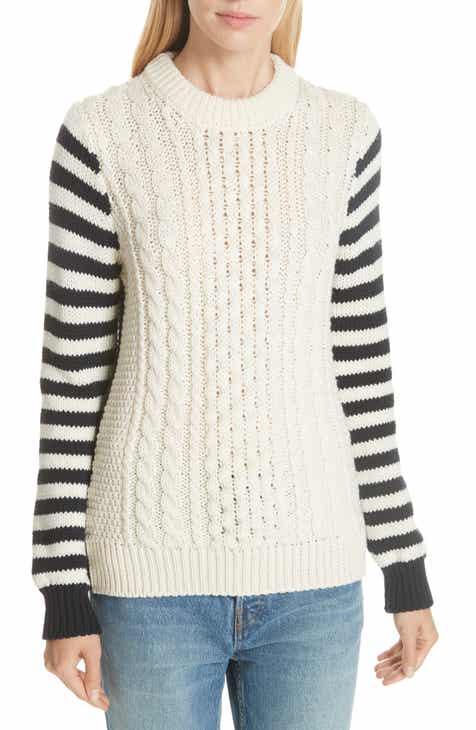 &Daughter Behy Aran Stripe Sleeve Wool Sweater
