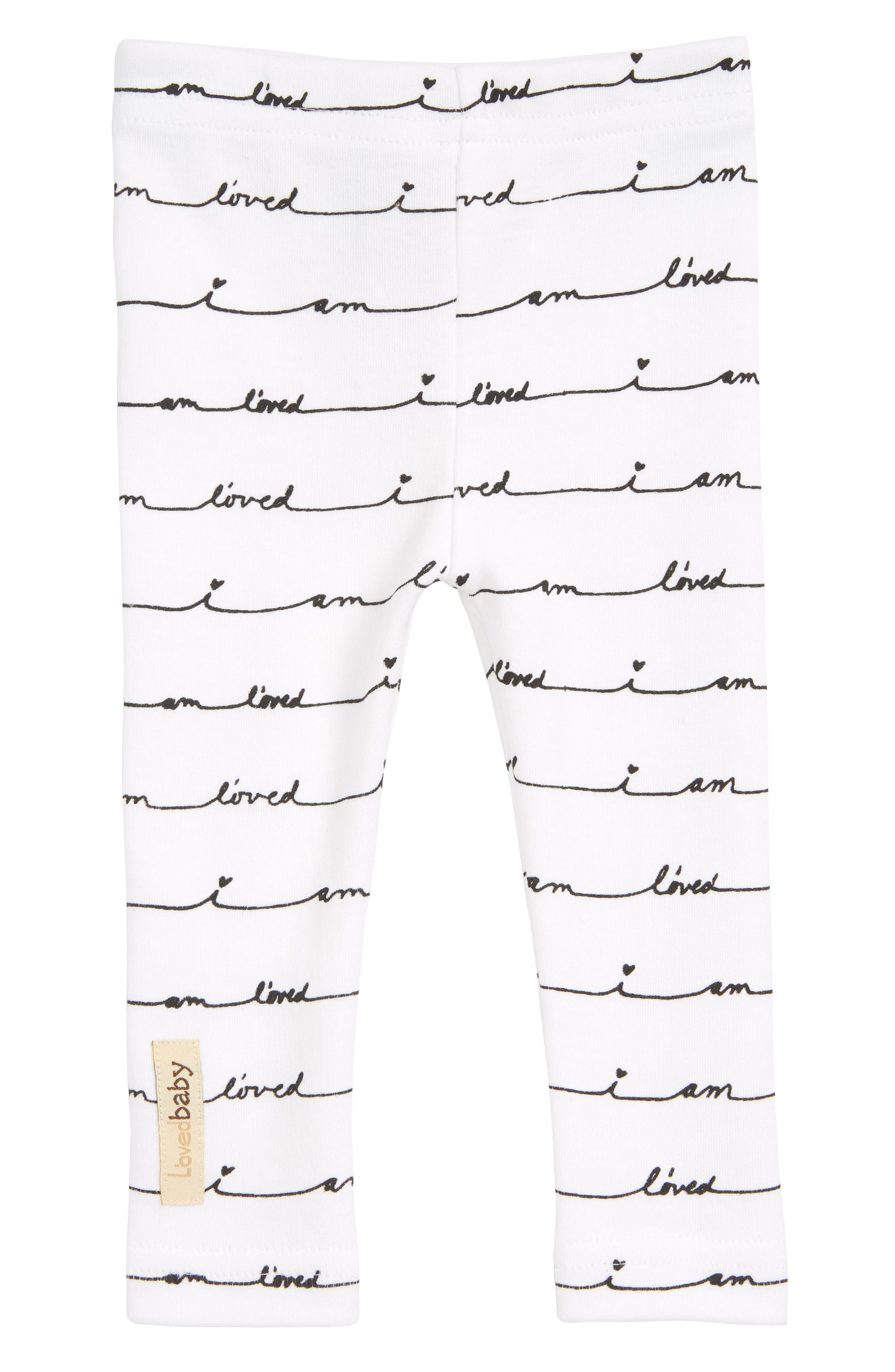 Organic Cotton Leggings,                         Main,                         color, White/ I Am Loved
